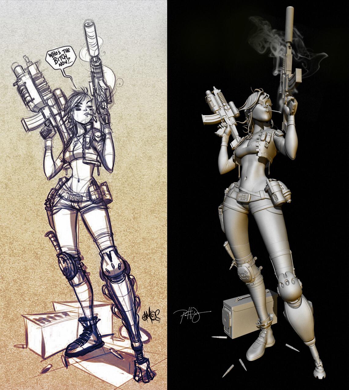The original sketch by John Amos & my sculpt