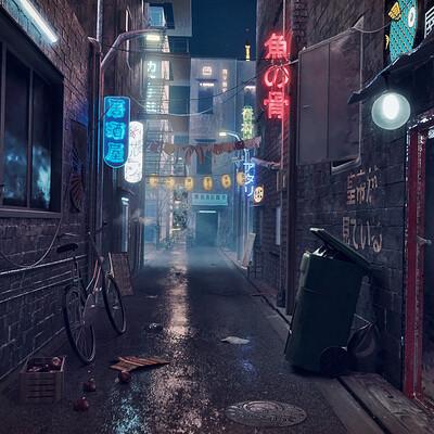 Mohammx eideh neon alley render