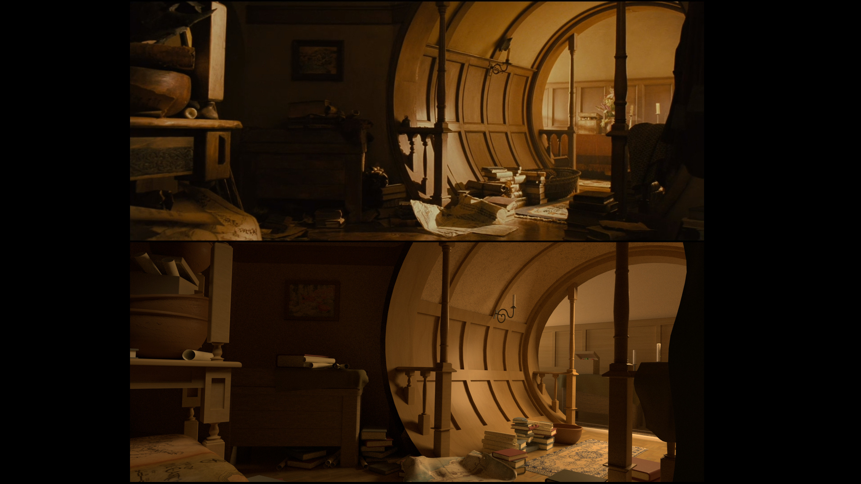 Side by side comparison of the mood match to the original image from the film (Fellowship of the Ring)