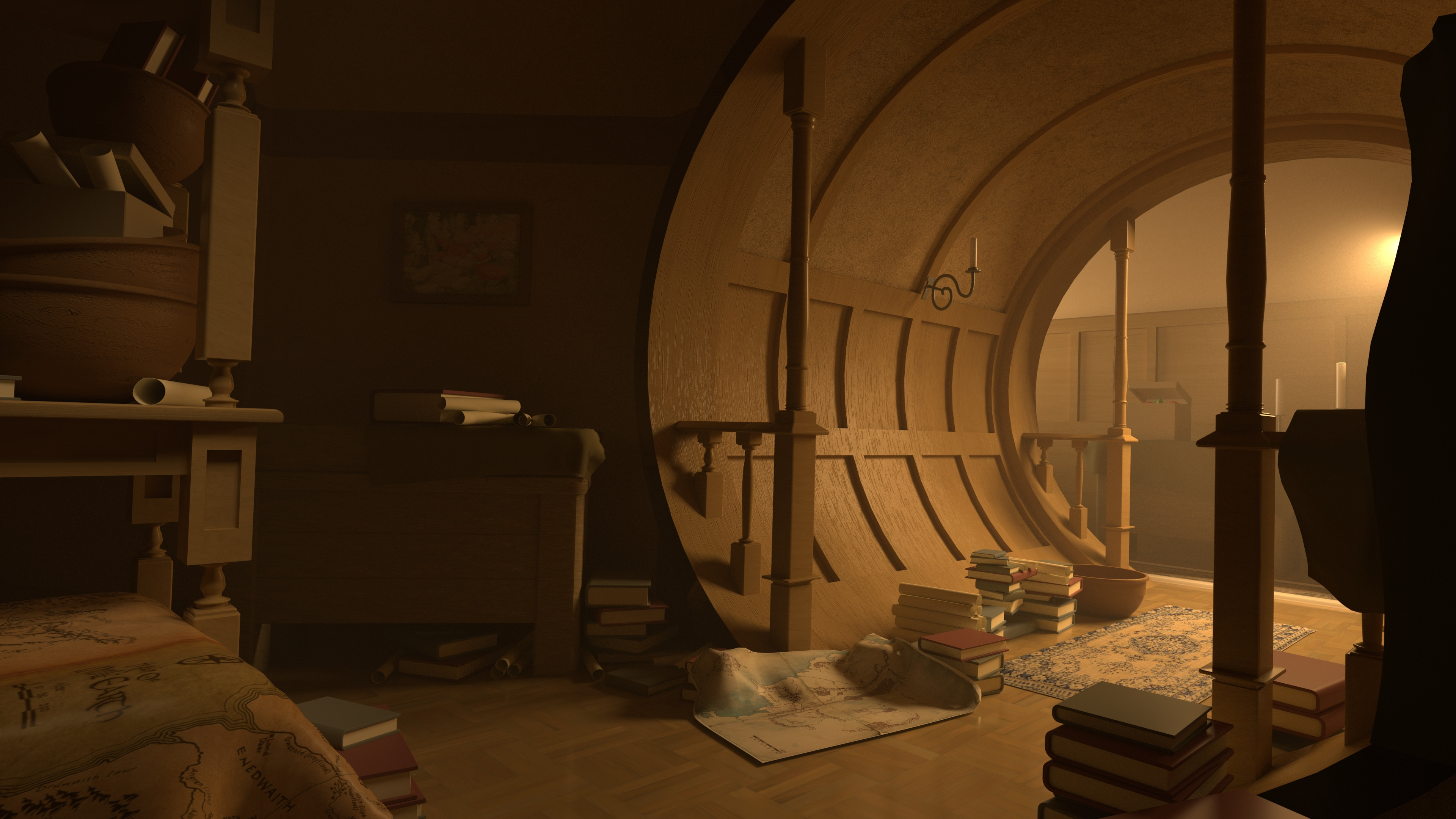 Bag End recreation. The goal was to capture the mood and feel of the scene.