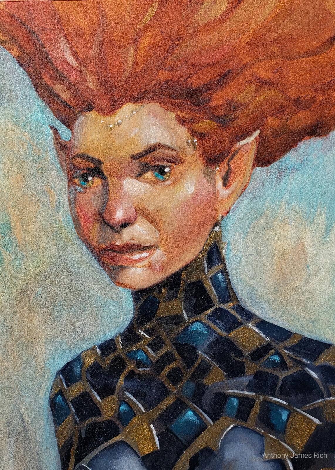 Redhead Elf Oil Sketch