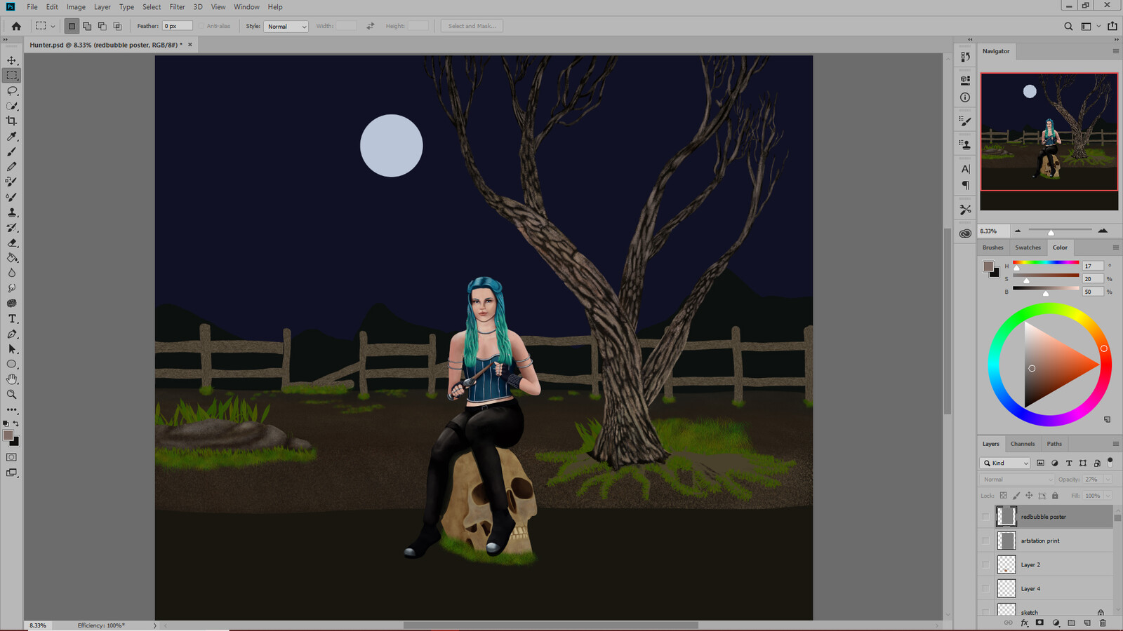 Working on the background now. I tried out several ideas including more patches of grass.