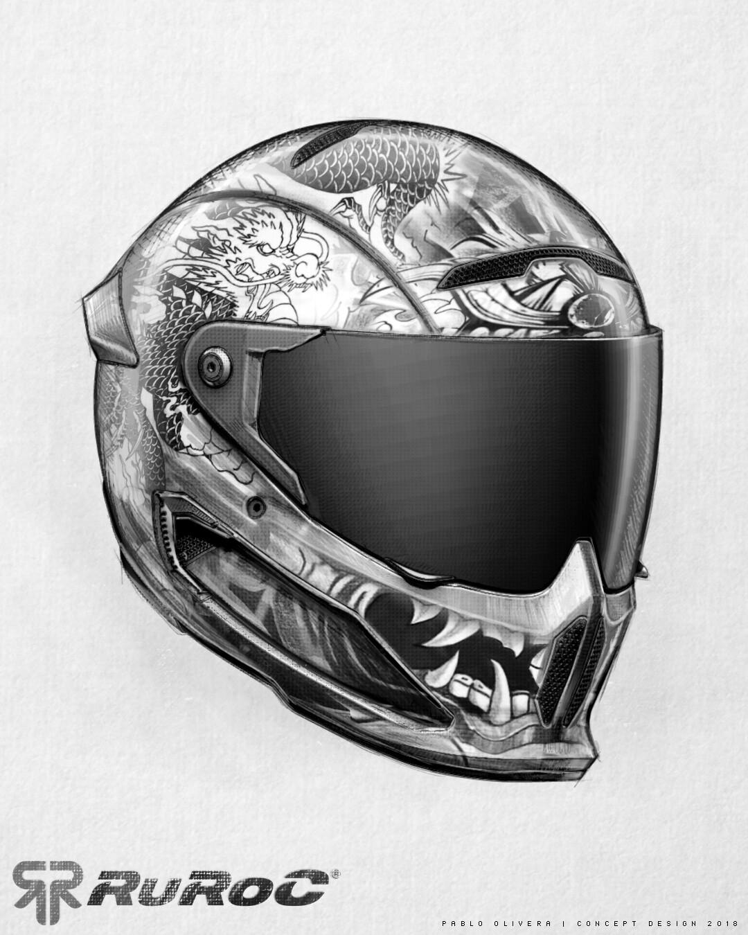 Pablo olivera helmet ruroc limited edition drawing sketch atlas 02