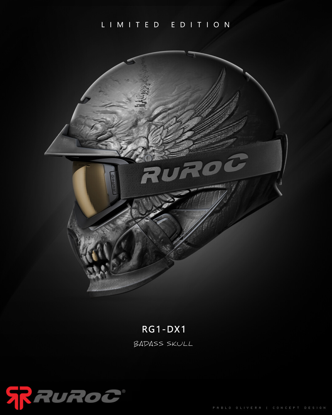 Pablo olivera helmet ruroc limited edition rg1 dx fear 01