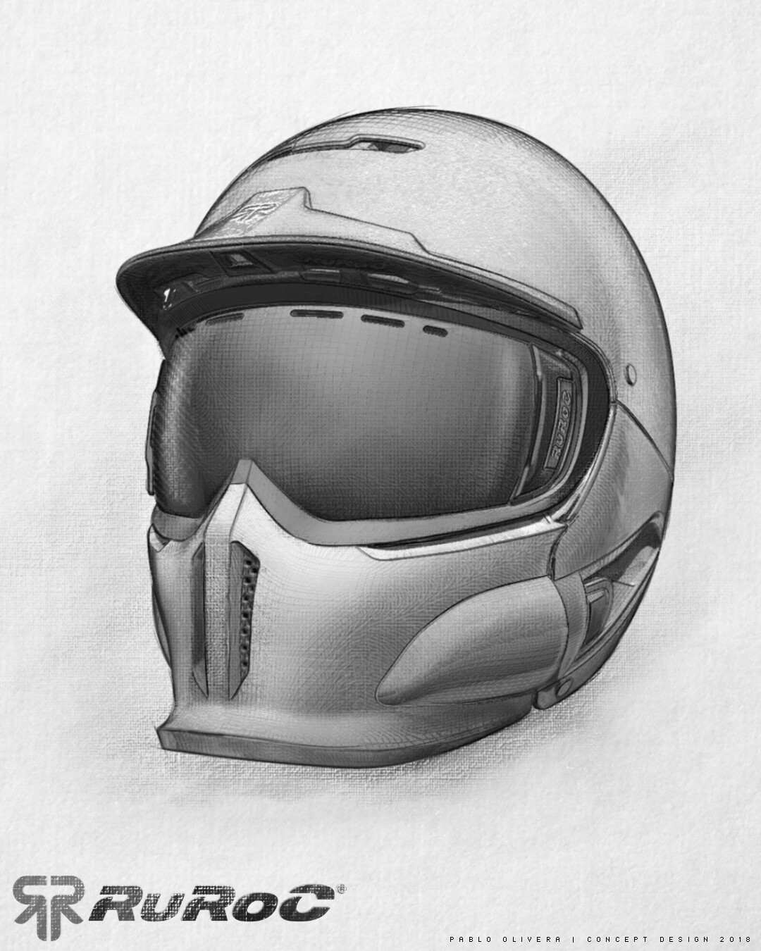Pablo olivera helmet ruroc limited edition drawing sketch 01