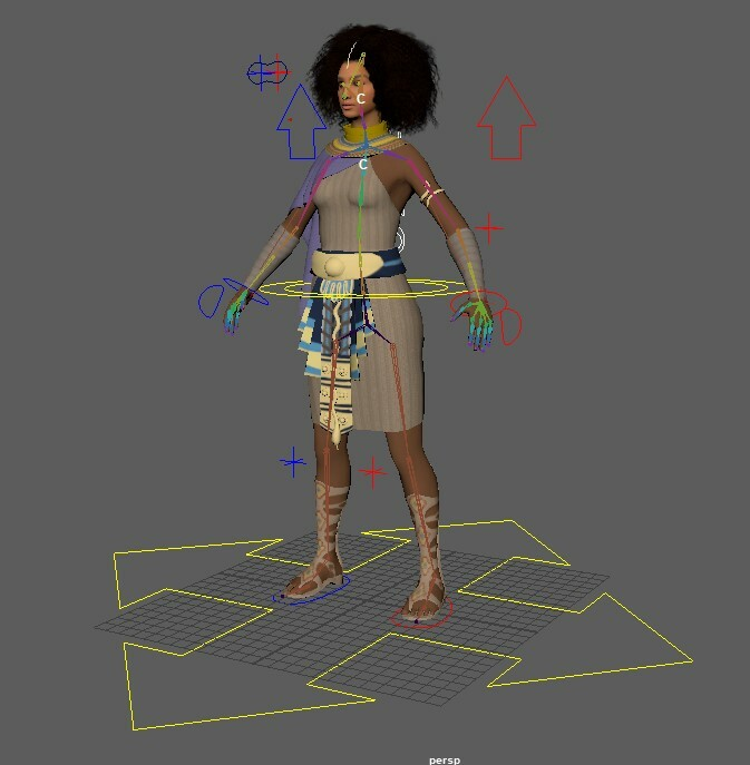 This is a screenshot of the full rig. It has manipulators for several body part.