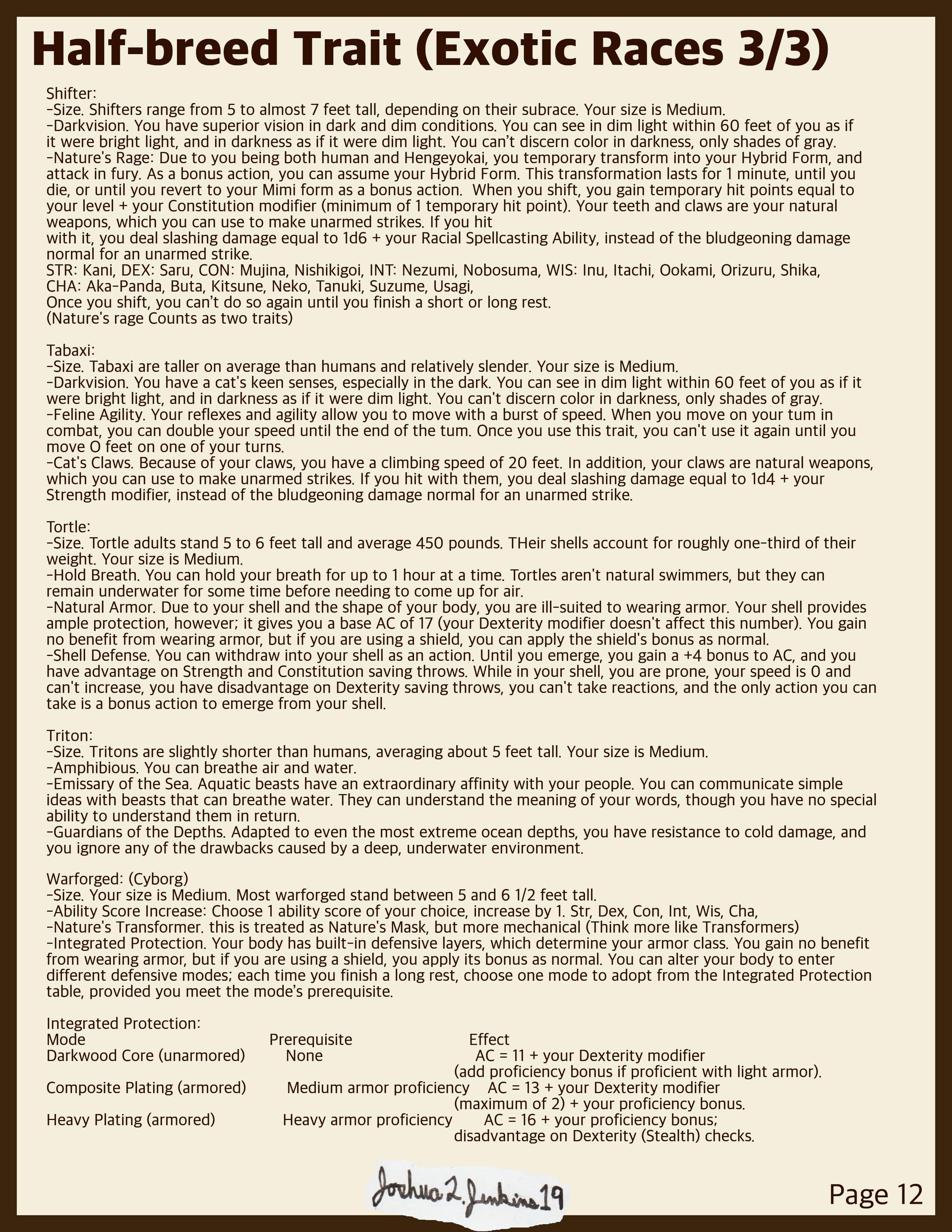 ArtStation - D&D Hengeyokai homebrew for 5th edition, Joshua
