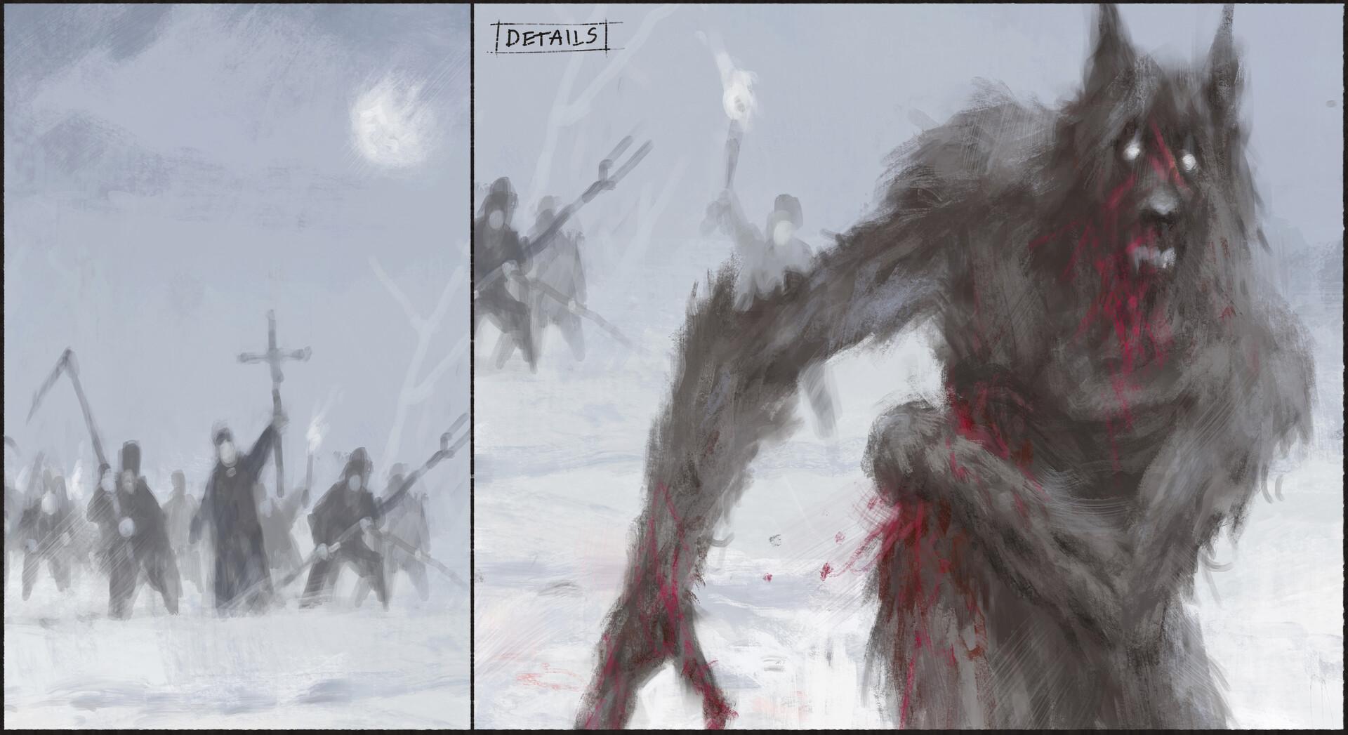 Jakub rozalski wounded wolf process03