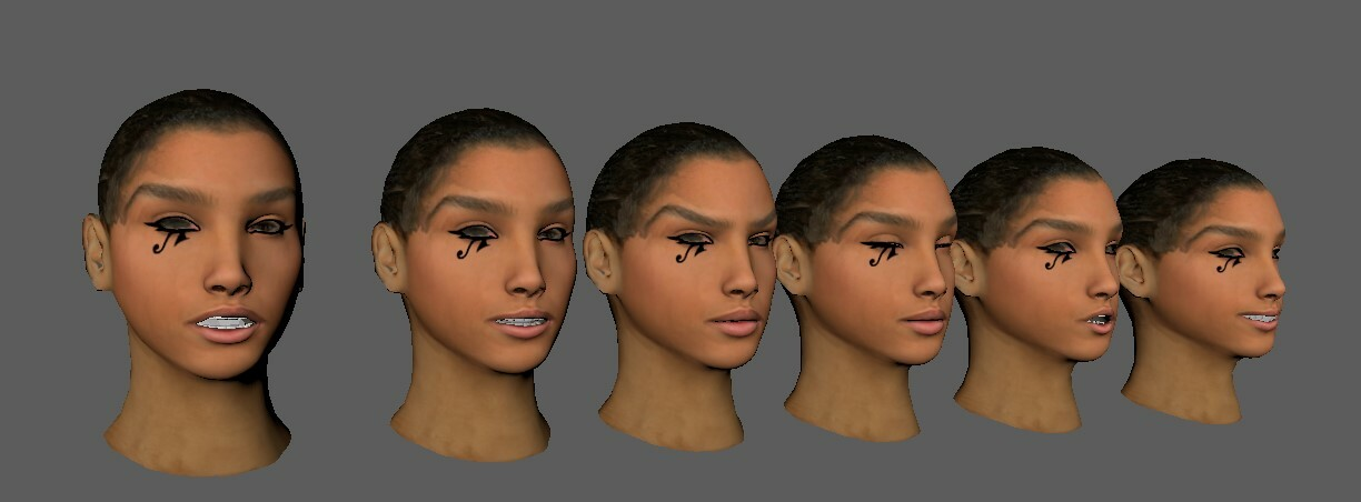 I took the head model into Zbrush and sculpted a handful of different blend shapes to use for this rig.
