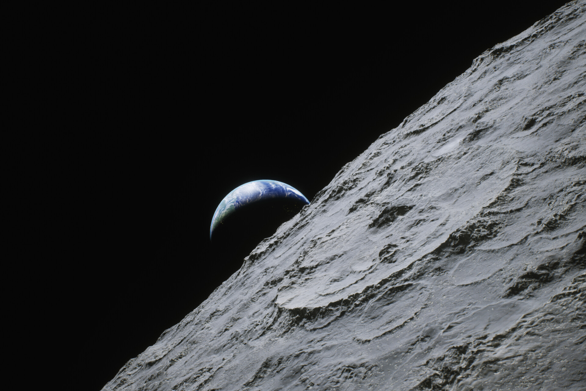 Another Earthrise recreation. Original photo - https://images.nasa.gov/details-as17-152-23274.html