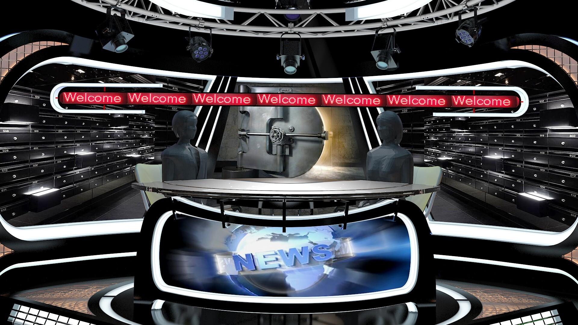 ArtStation - Virtual TV Studio News Set 34, aker Studio