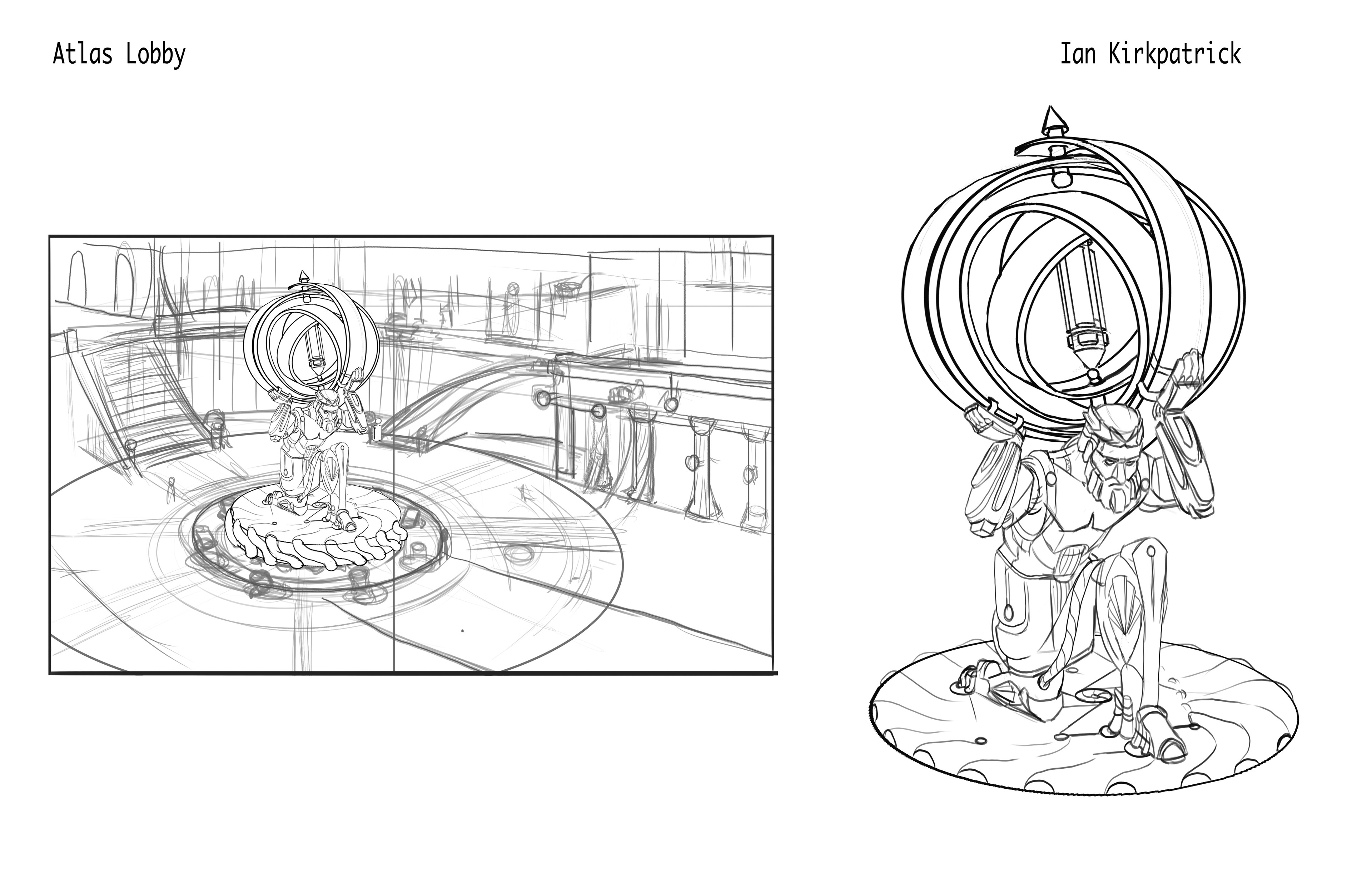 My concept of a statue of Atlas that holds up a gyroscope that constantly rotates around the battery and it generates power for all of atlantis