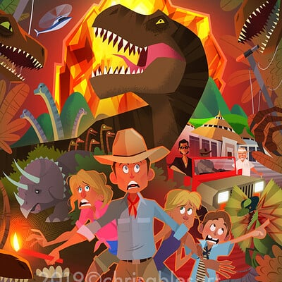 Christopher ables jurassic park pop poster wm