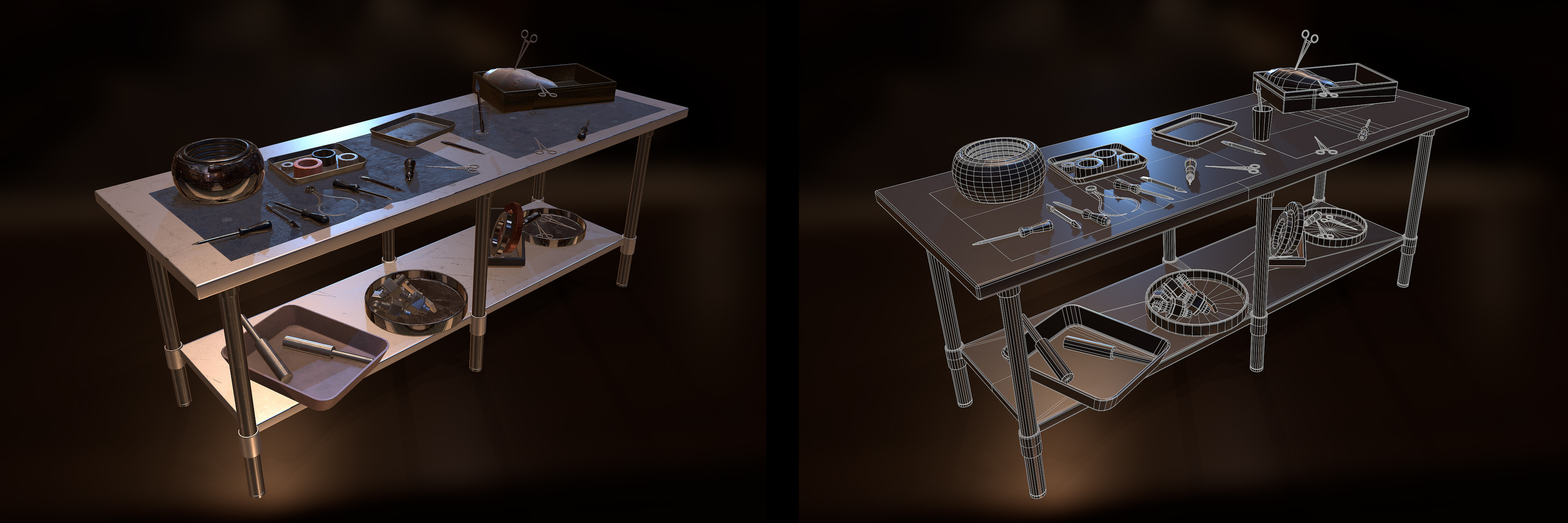 Work Table | Closeup render and wire frame