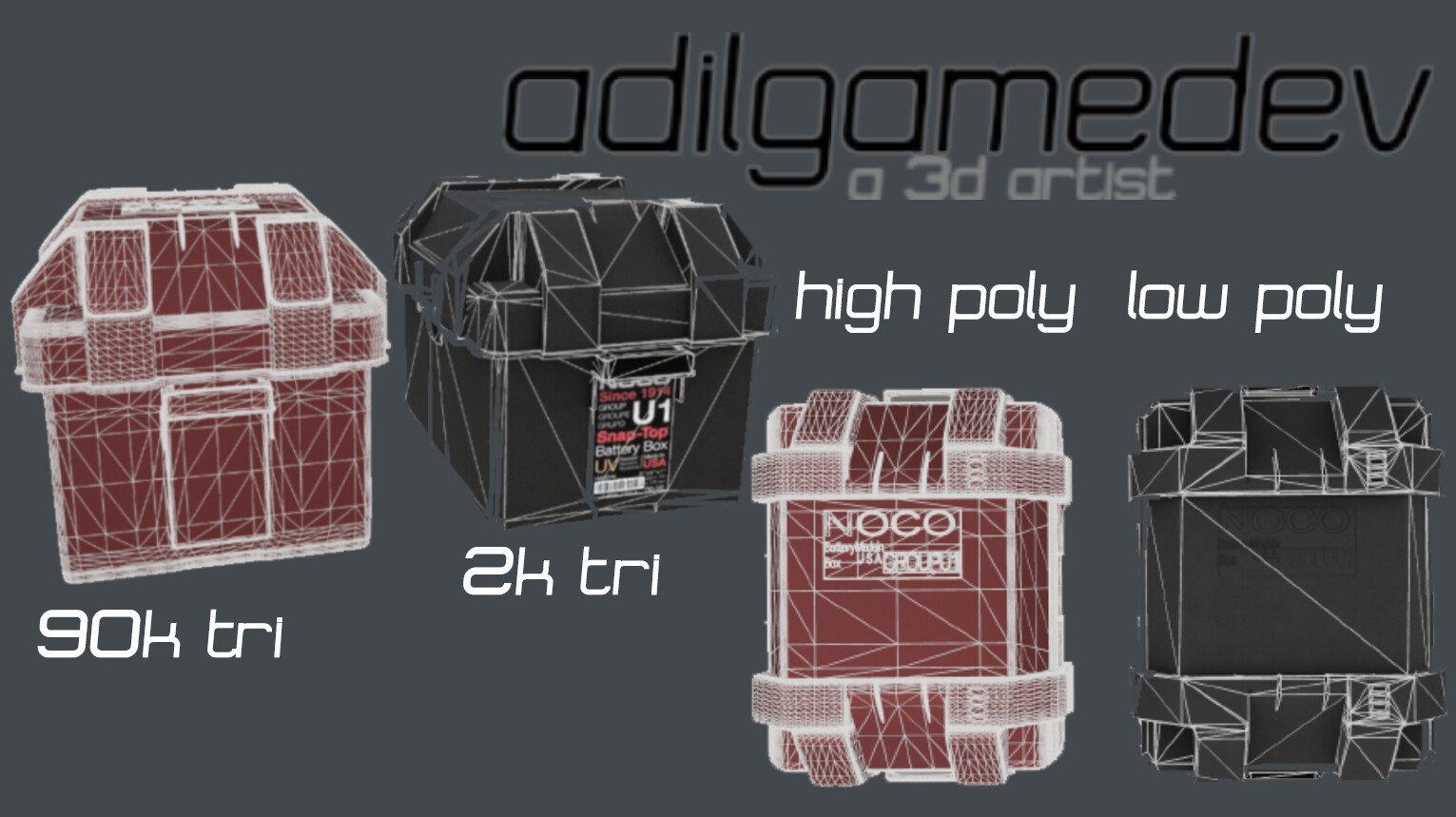 High and low poly comparison with wireframe