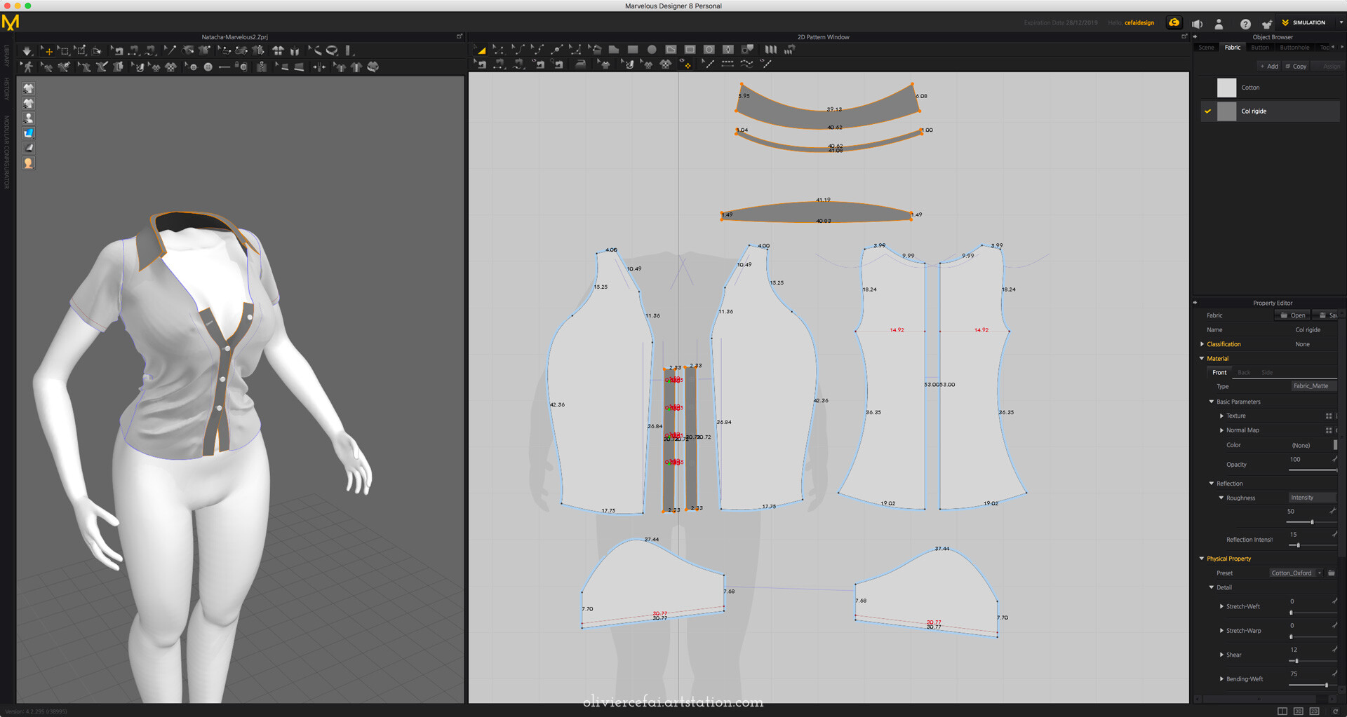 Design of the shirt in Marvelous designer
