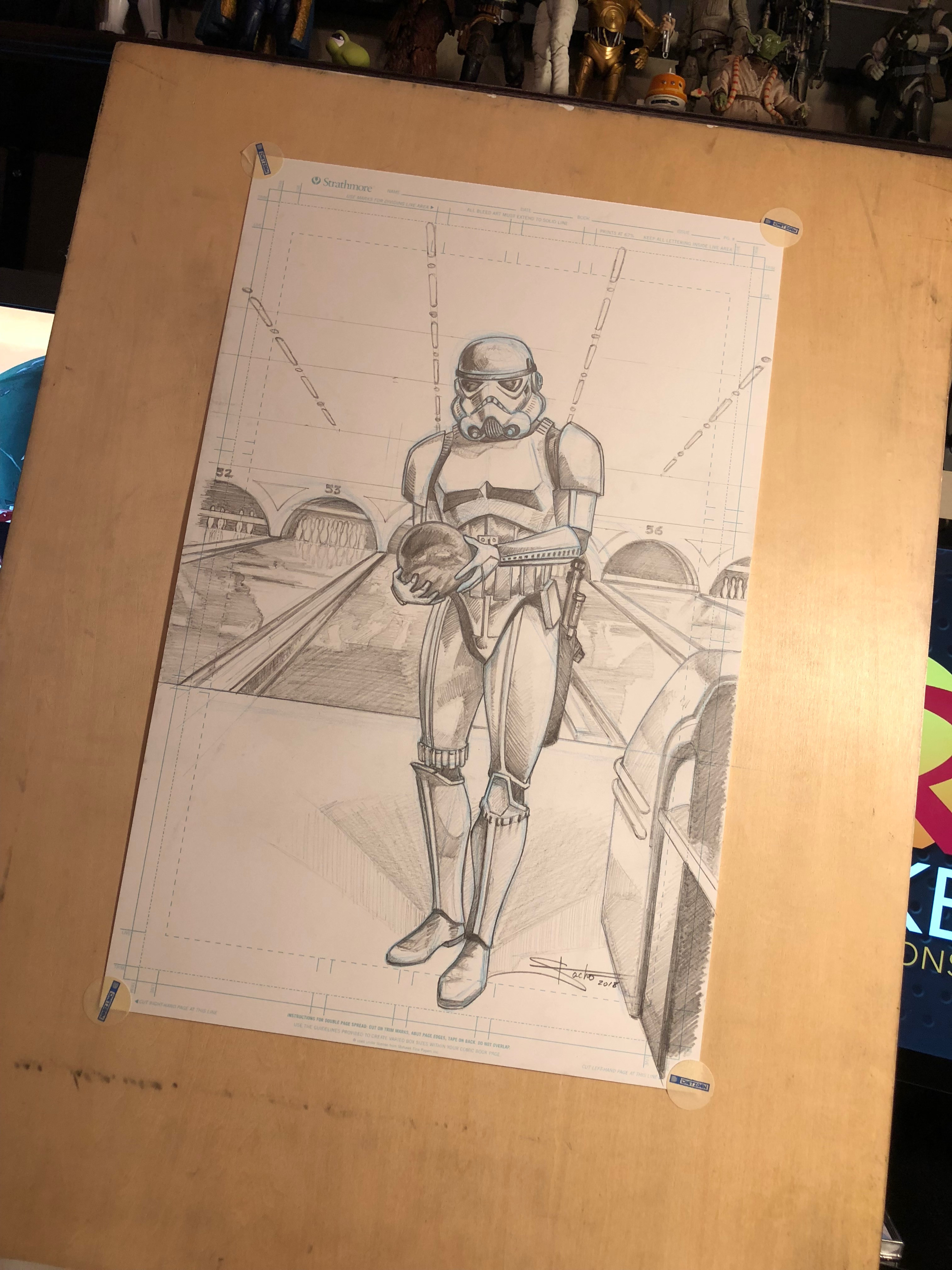 The original concept sketch. The dude was added later.