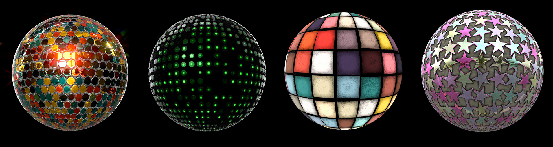Disco balls, dance floor and led screens are created with this material!