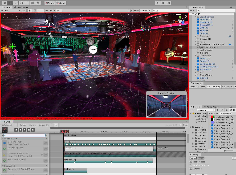 Unity3D views of club environment