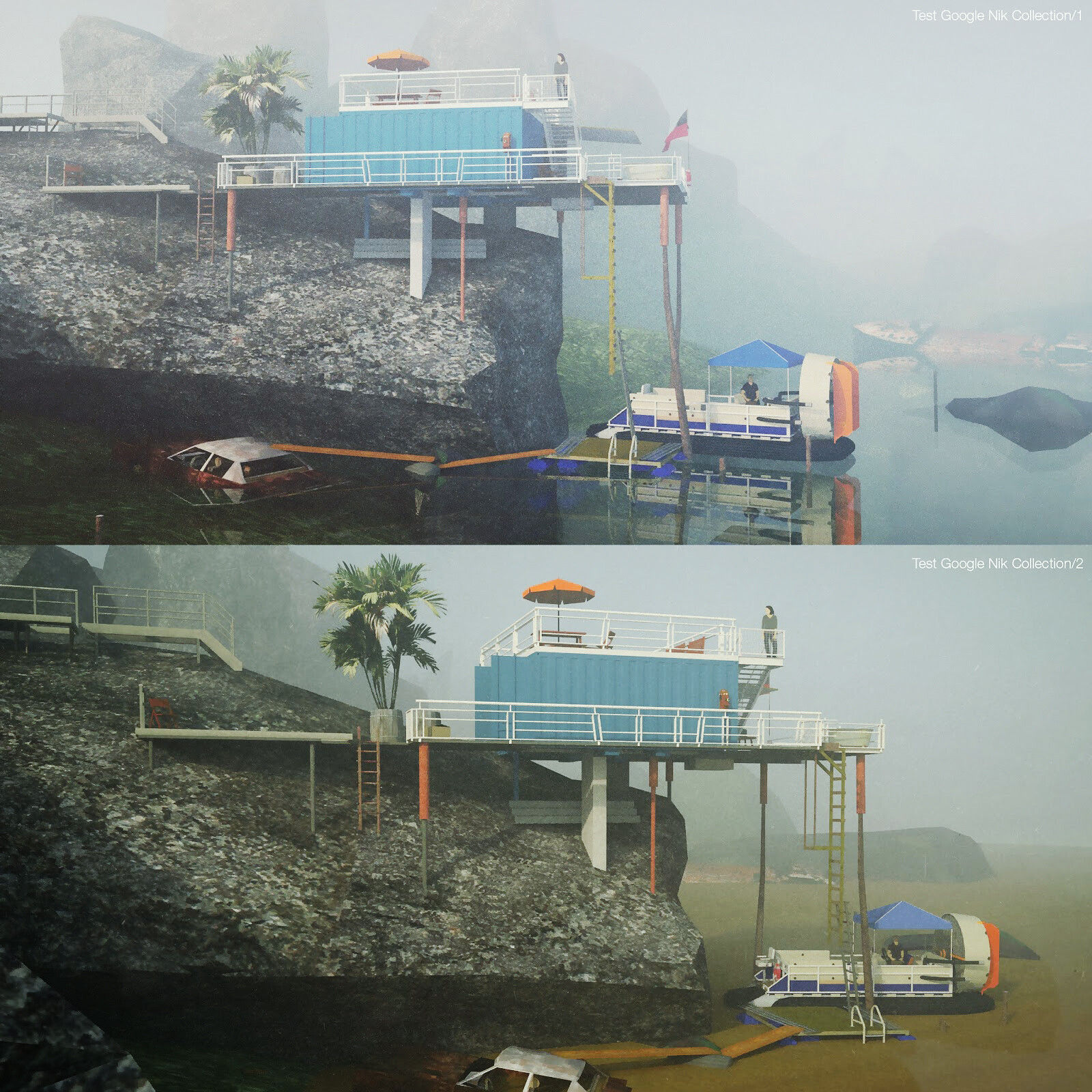 Rock container house + hovercraft deck...