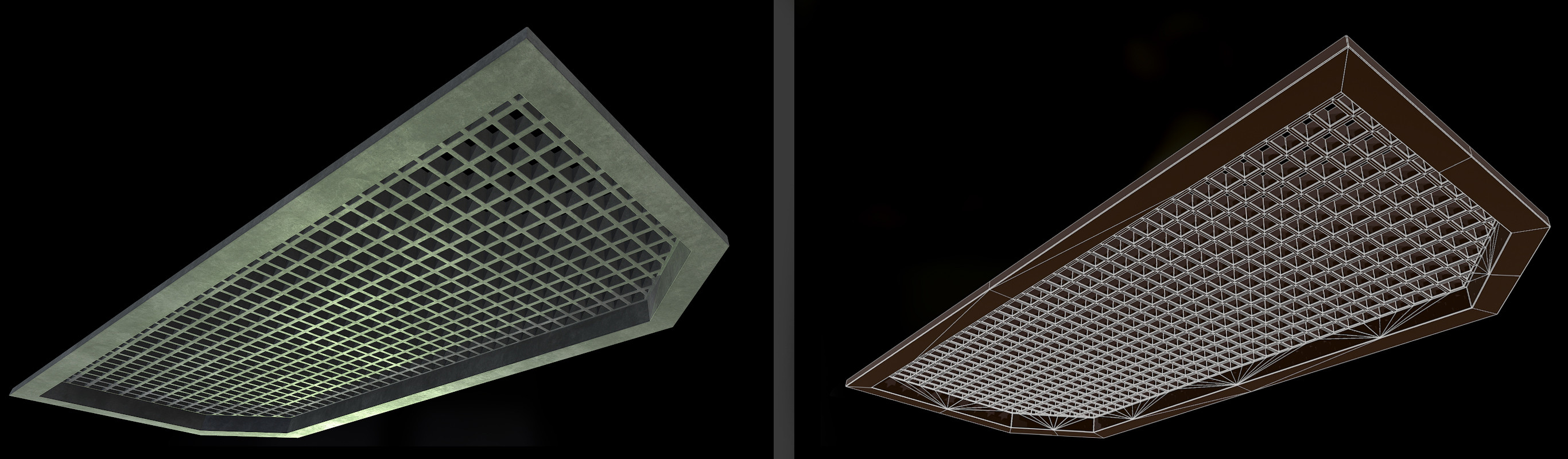 Ceiling | Closeup render and wire frame