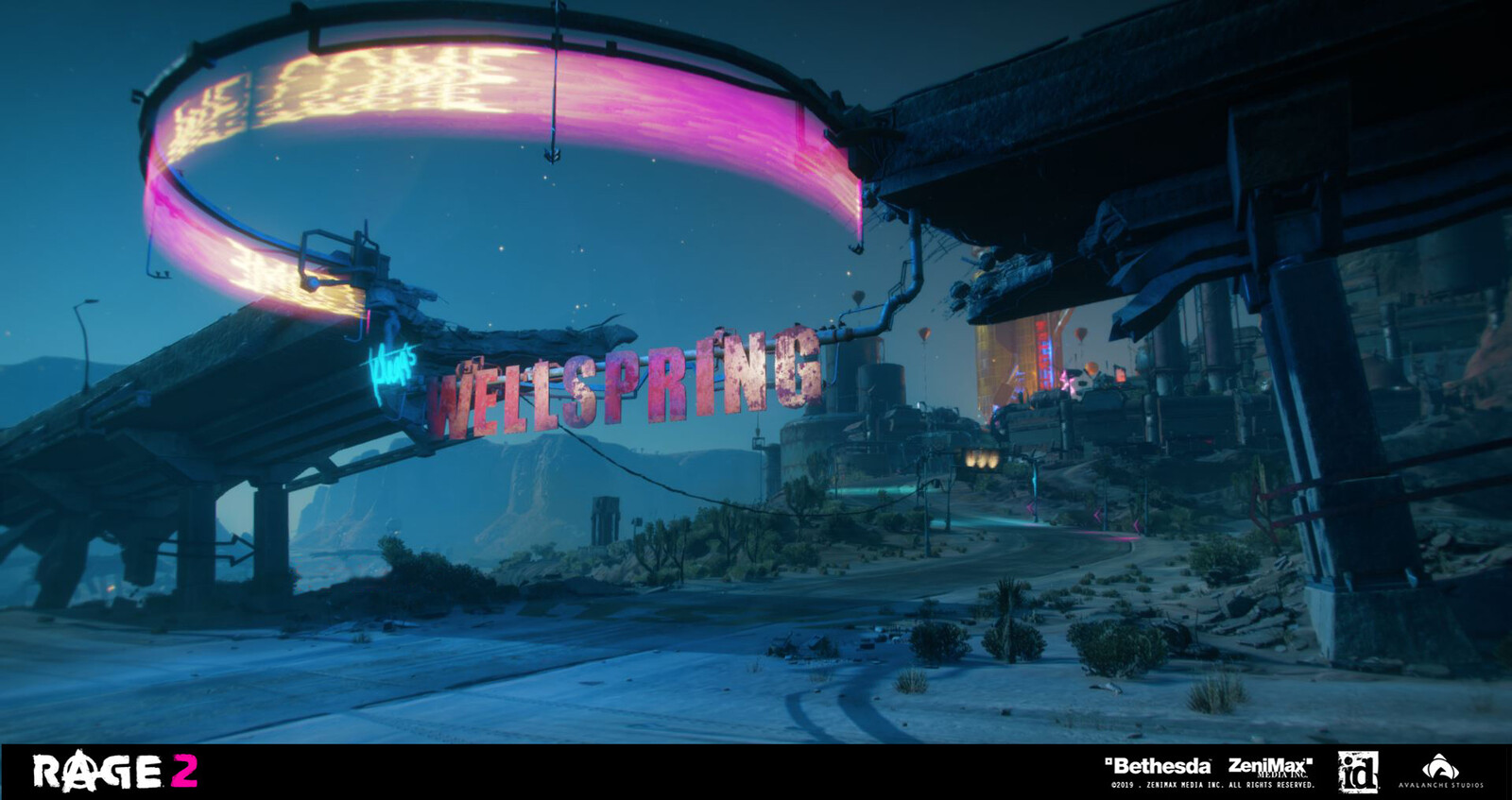 Entrance to Wellspring. I made the half-circular sign and the letters, as well as propping the entrance road leading up to the city gate. Lighting artist Christoffer Ågren made the hologram letters.