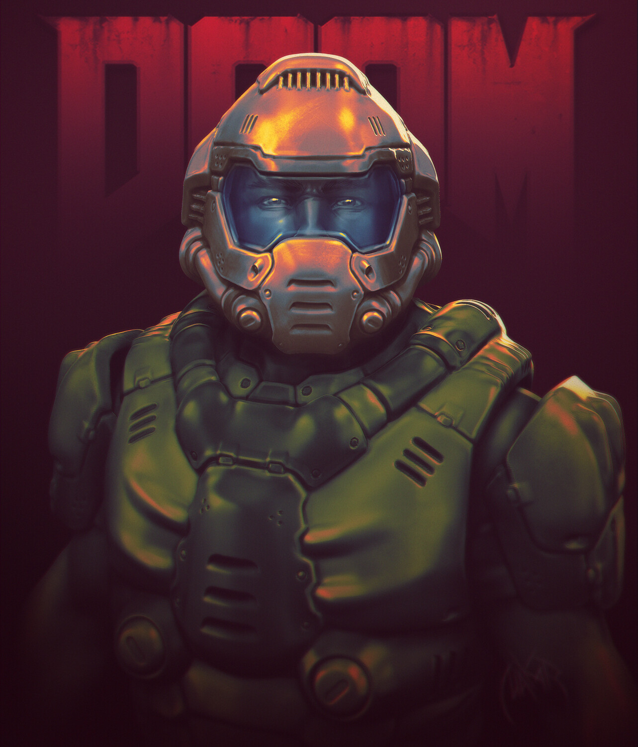 Doom Marine The Doomguy Fan Art Redesign Portrait Polycount