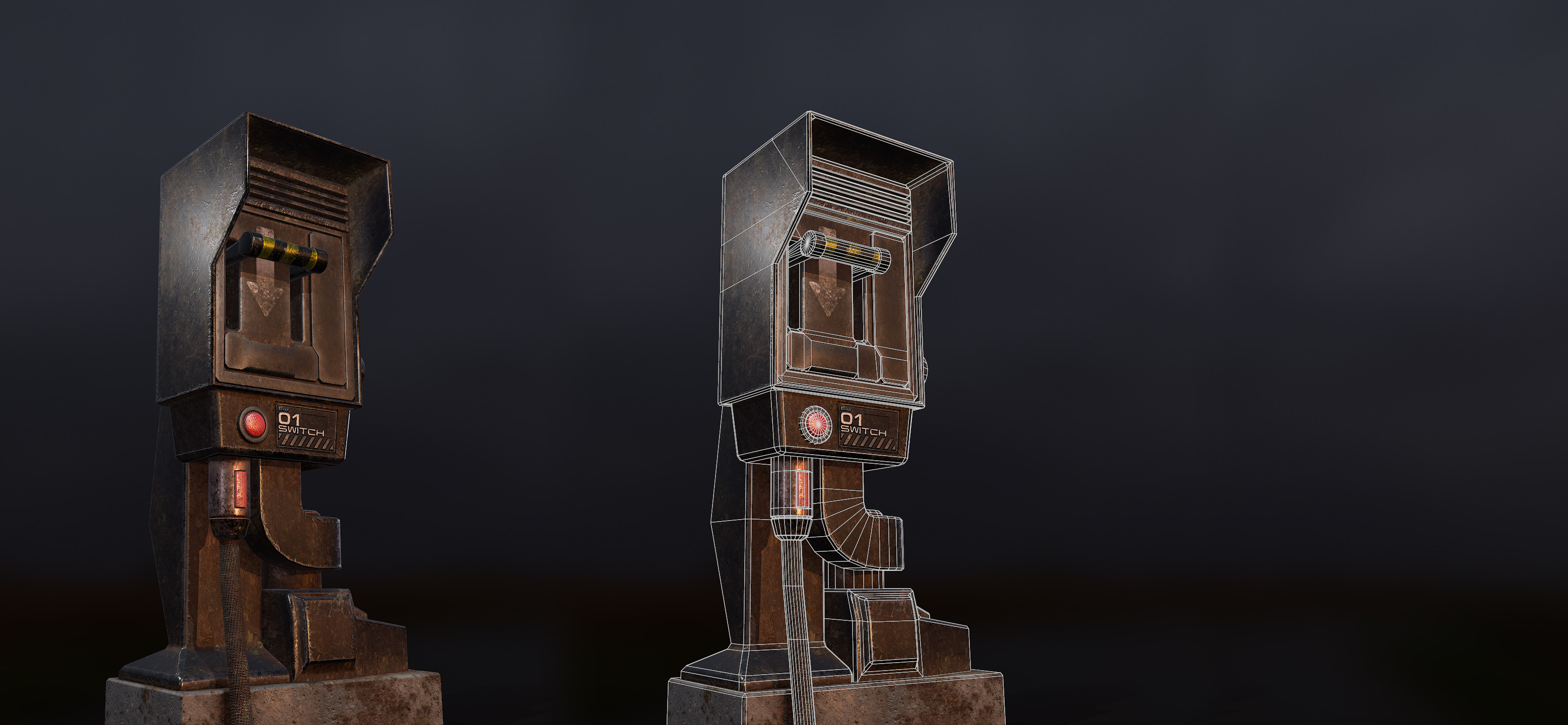 Fully textured electrical box and wireframe