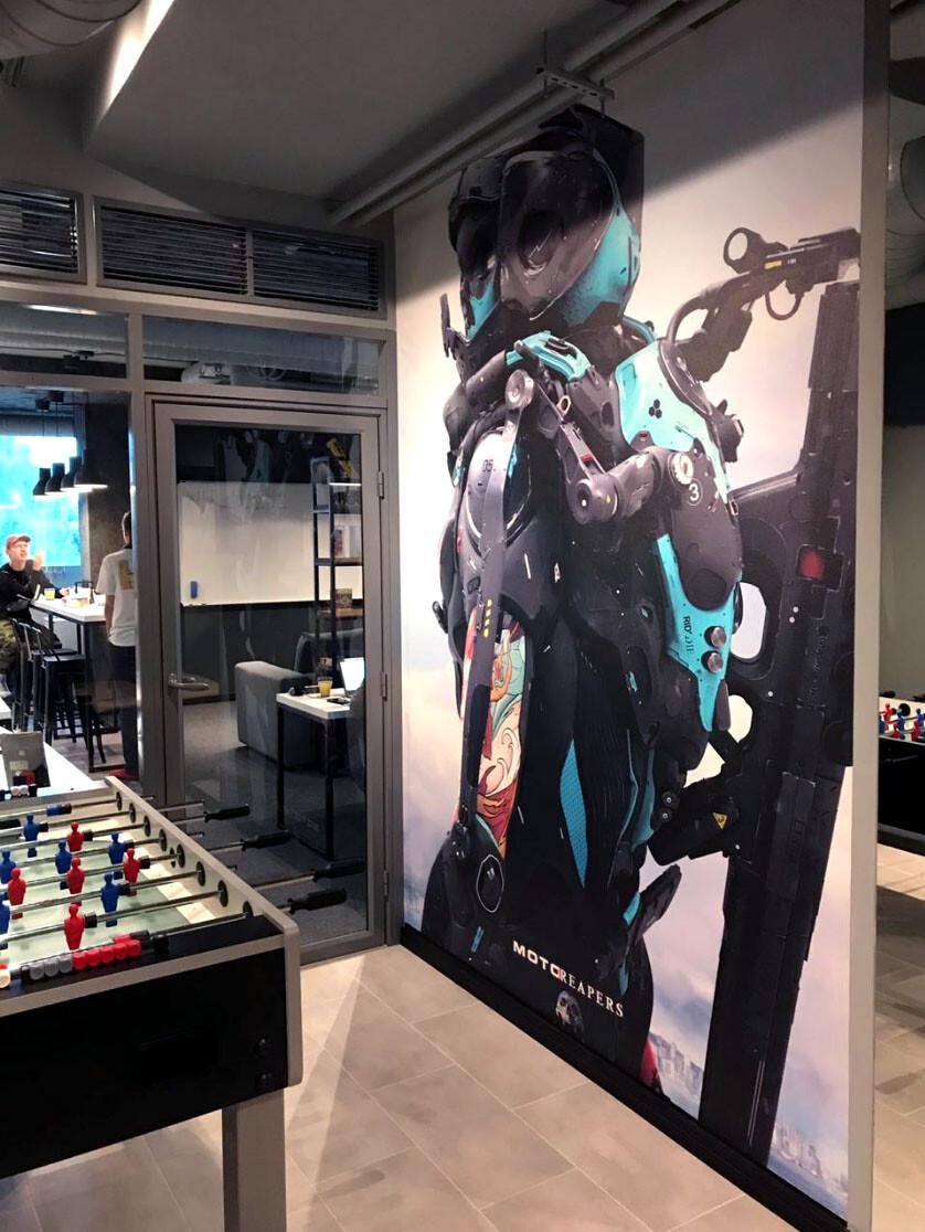 Big and badass printed on the wall of Artstation's Kazan Office!