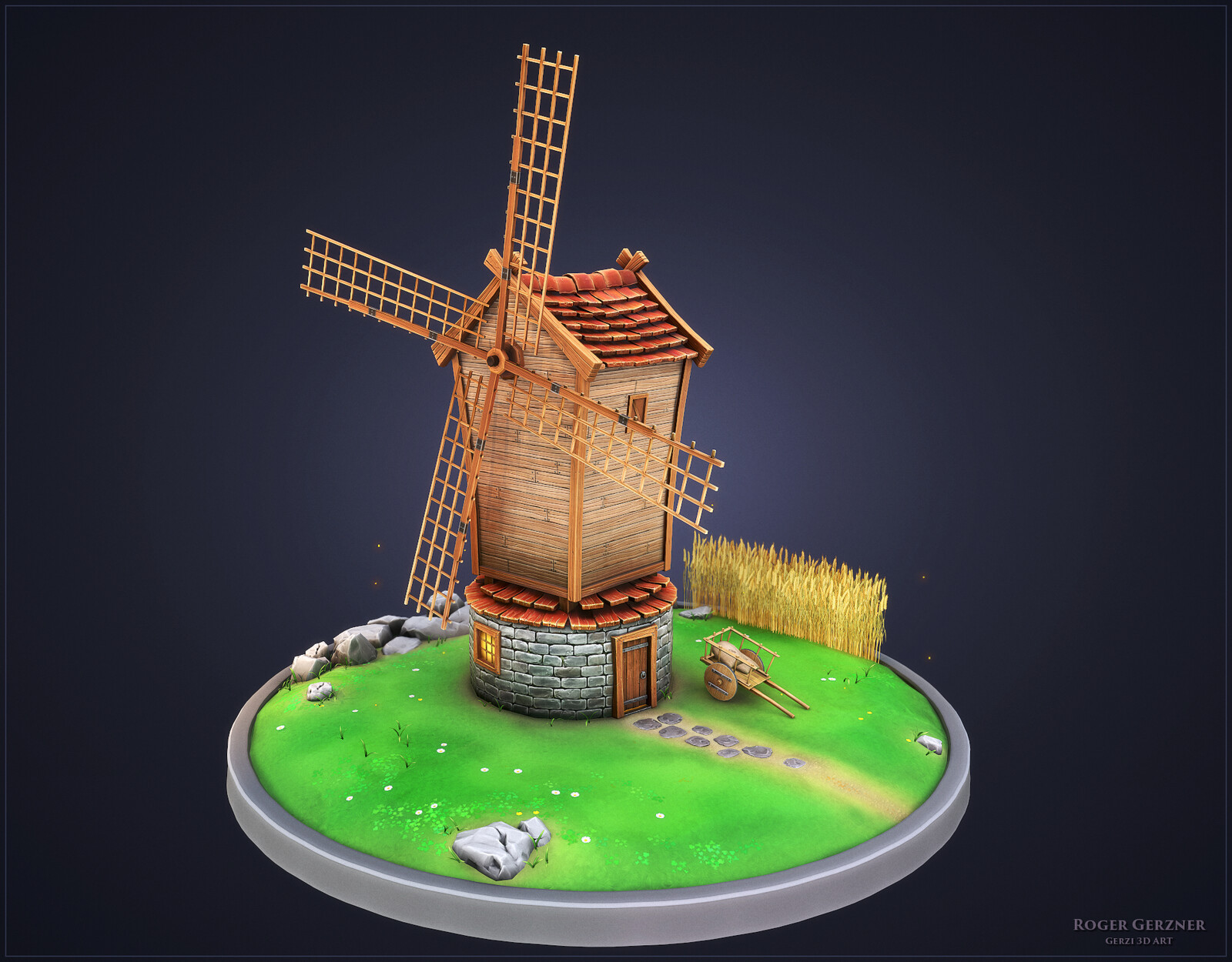 Stylized Windmill Game Asset