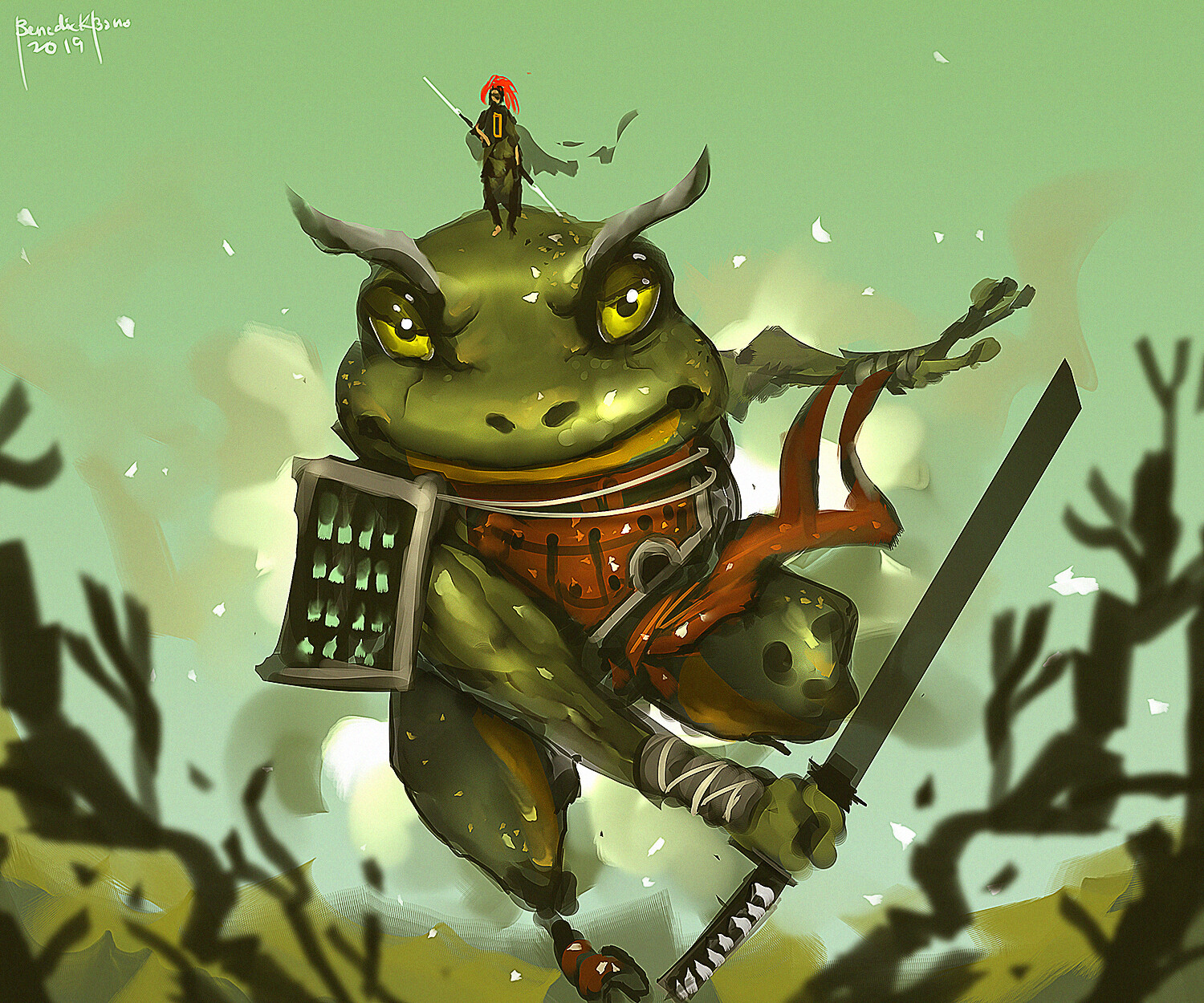 """2019 """"Red Ronin and Great Frog Emperor"""" remake of my old artwork:"""