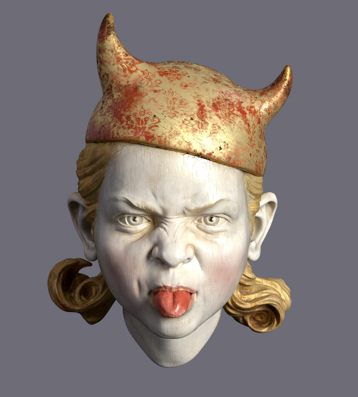 little devil - Zbrush sketch, textured in Substance Painter. I wanted to try a polychrome sculpture look