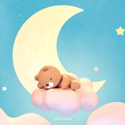 Judy kao artstation tykcartoon cute sleeping bear on lake green color background 0729ss