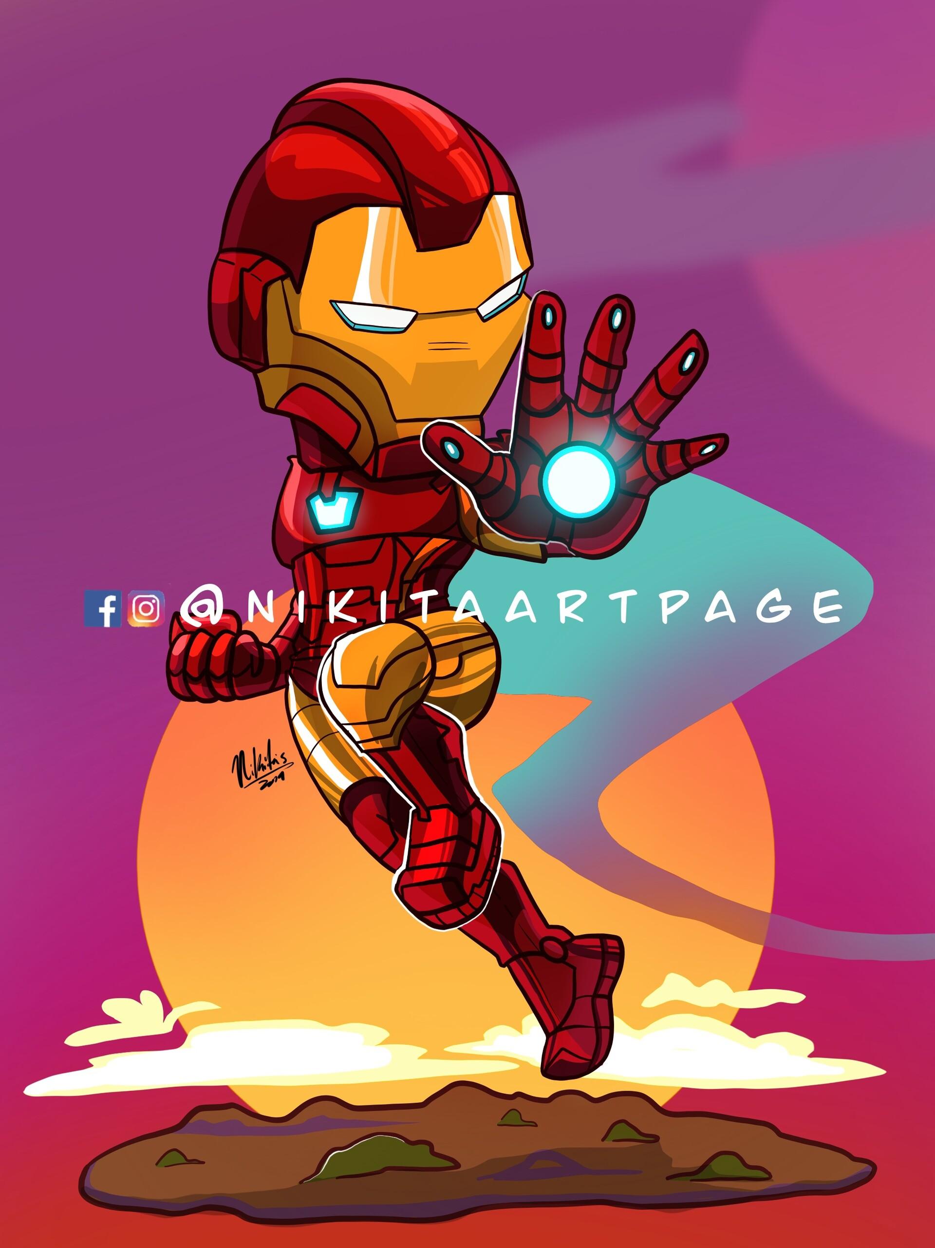 Artstation Ironman Cartoon Illustration Nicole Davila