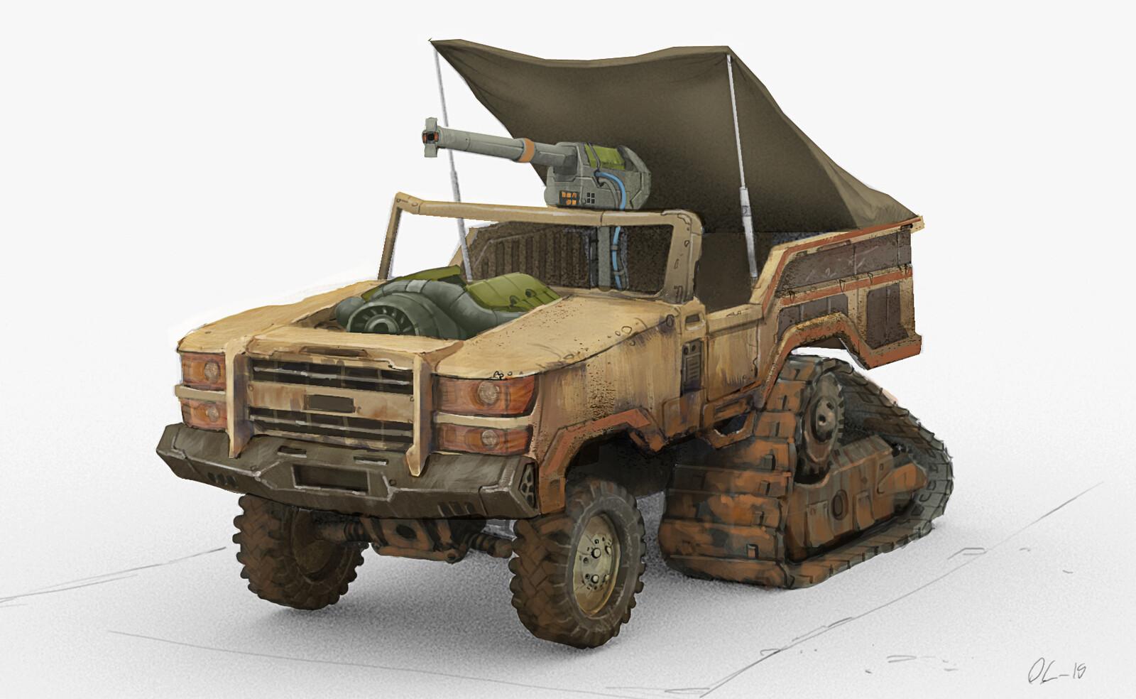 Desert pick-up truck with EMP gun attached