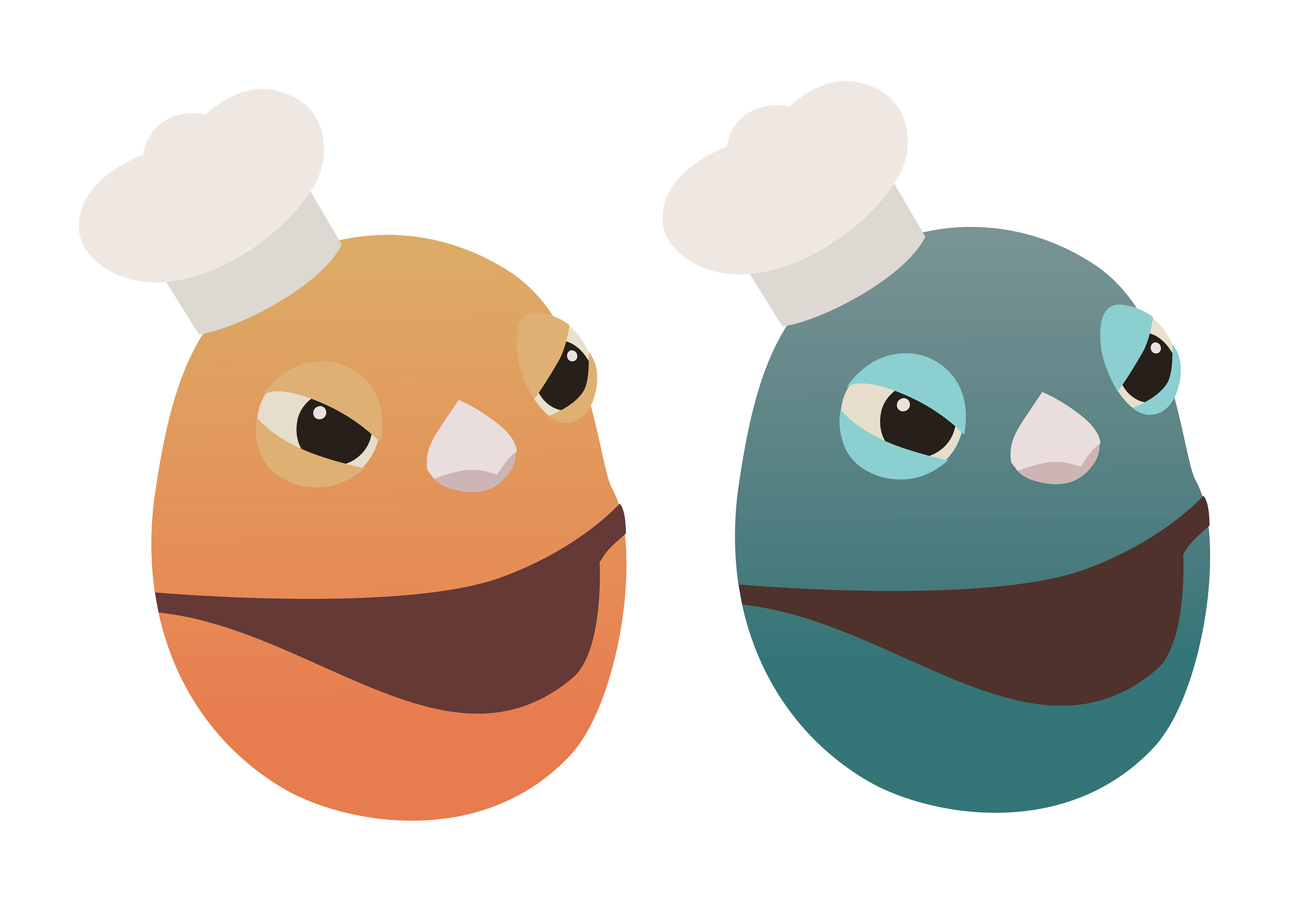Coco & Bubu icons, created in Illustration
