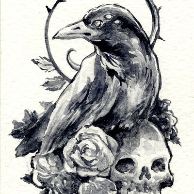 Kaos nest aceo for sale crow roses and skull by kaos nest db3pjt5