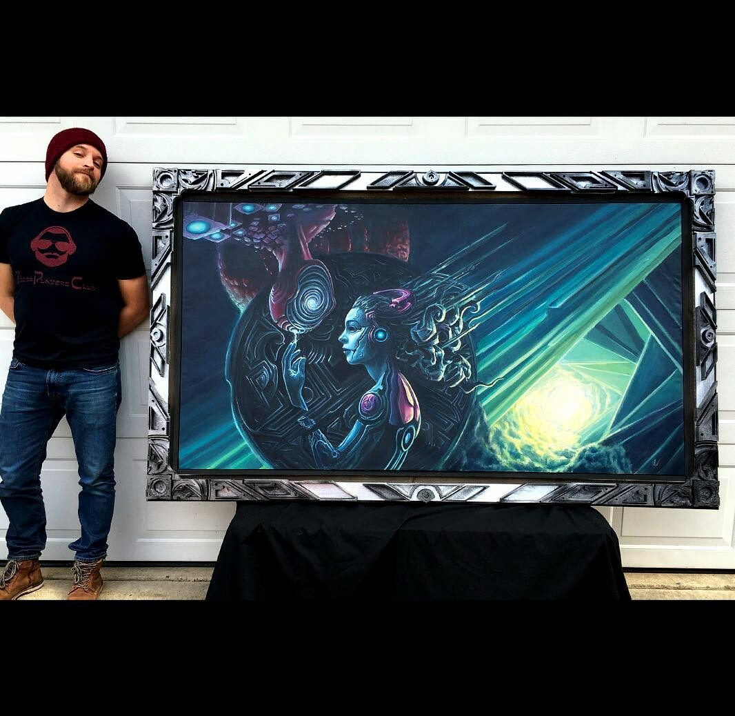 Picture of me standing next to the finished product. Original painting with 3D printed frame.