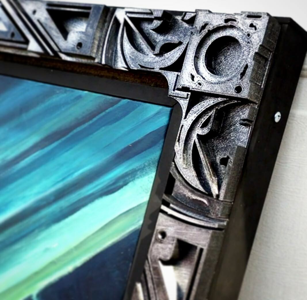 Close up picture of the 3D printed frame.