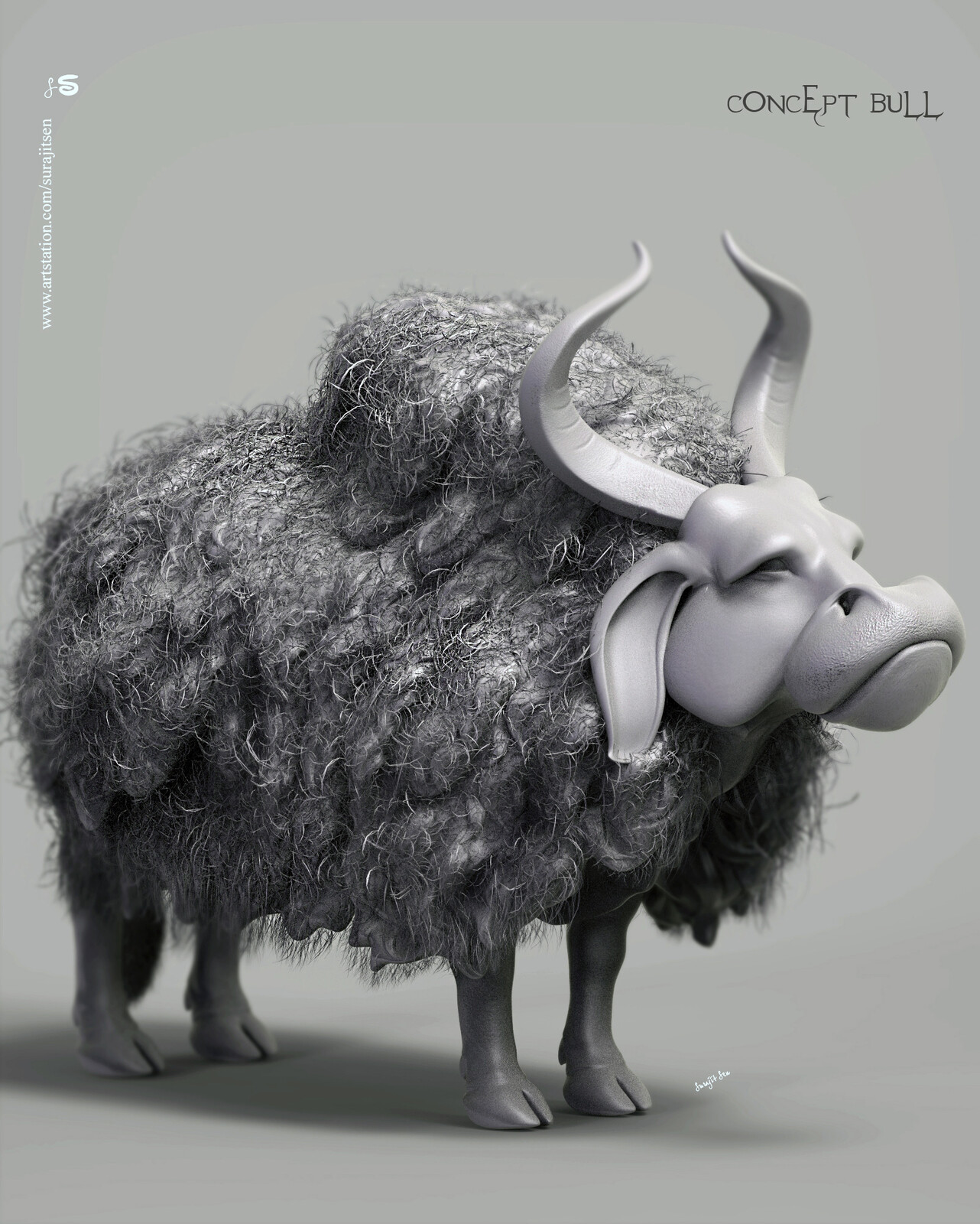 """#digitalsculpting #doodle #study   One of my Concept Characters ....""""Ancient Bull"""".  Tried to make a form of my thoughts"""