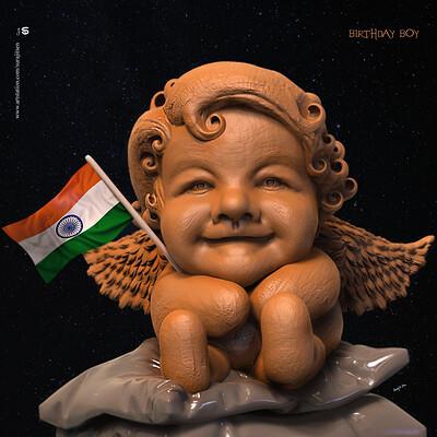 Surajit sen birthday boy digital sculpture surajitsen aug2019