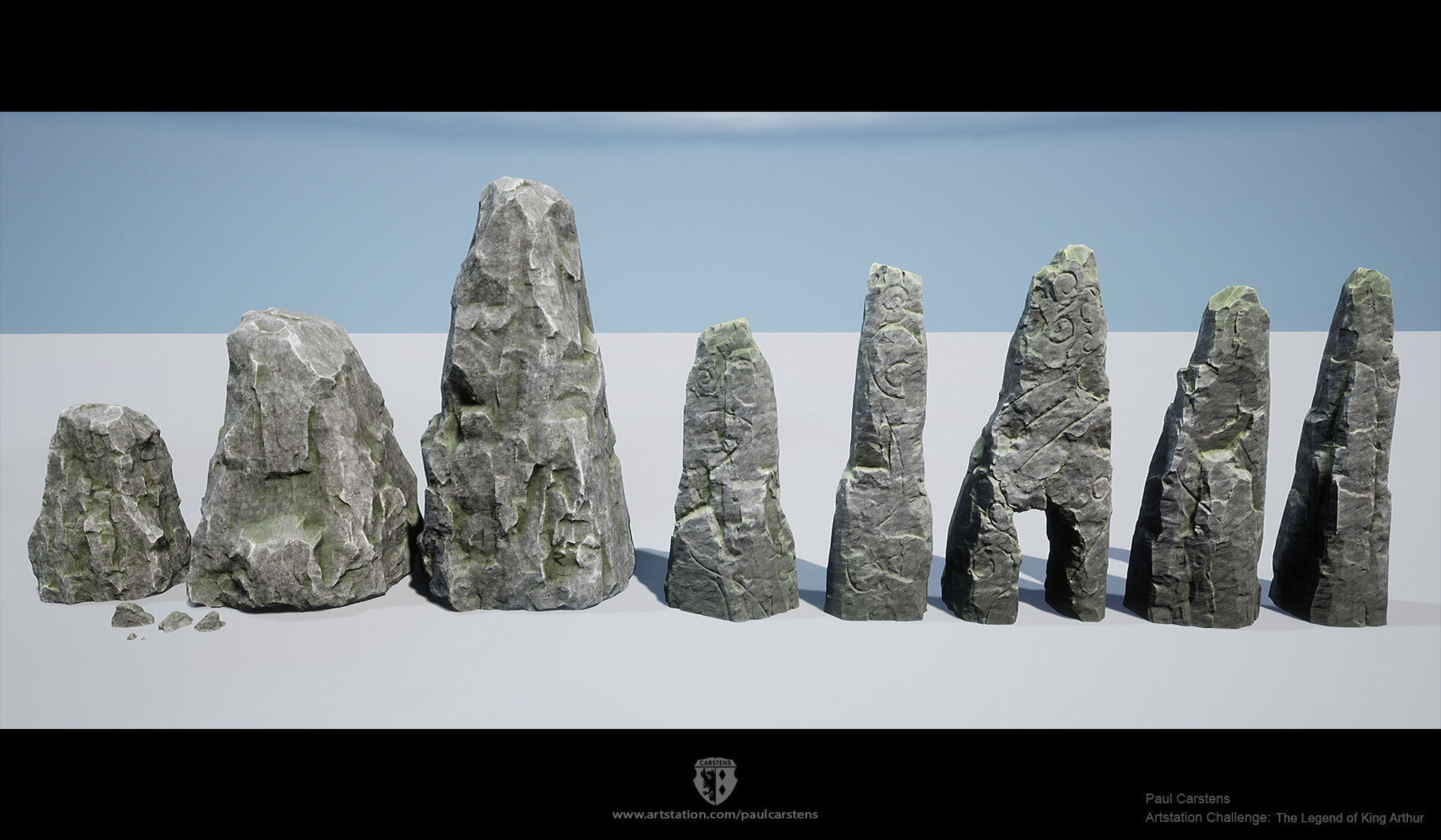 """""""Modular"""" rock kit, basically 2 texture atlases. One for the generic rocks and one for the standing stones."""