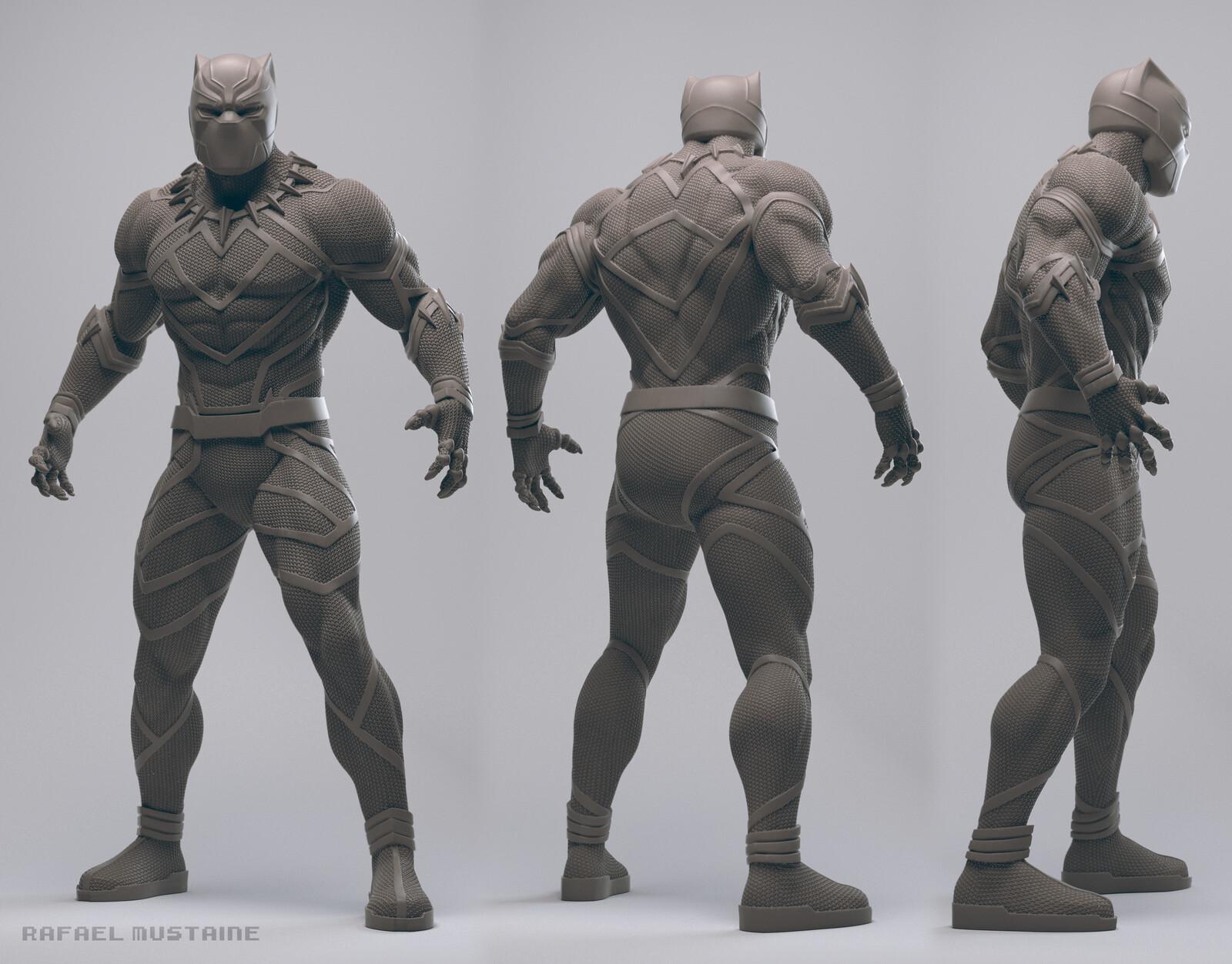 Black Panther Clay Render