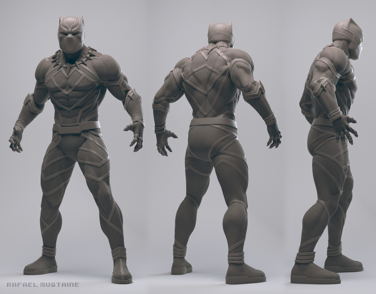 Black Panther Clay render