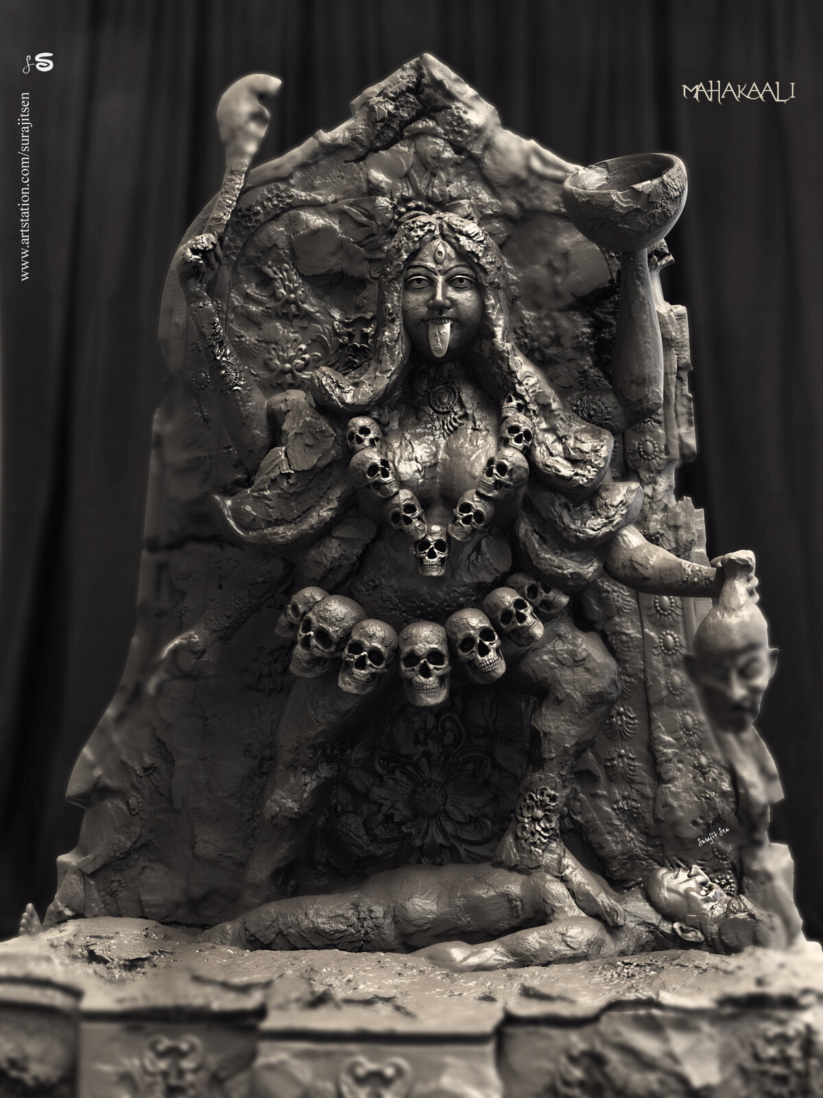 Updated version one of my Digital Sculpture -   Mahakaali Here I tried to create the form of Goddess Kali, inspired from the ancient Indian relics. I like the hidden art in damaged idols and try to sculpt it digitally.