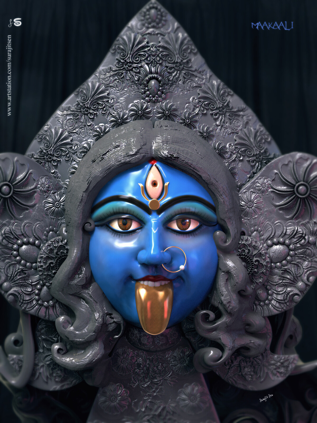 Updated version one of my Digital Sculpture -   Maakaali I tried to create the Goddess Kali.