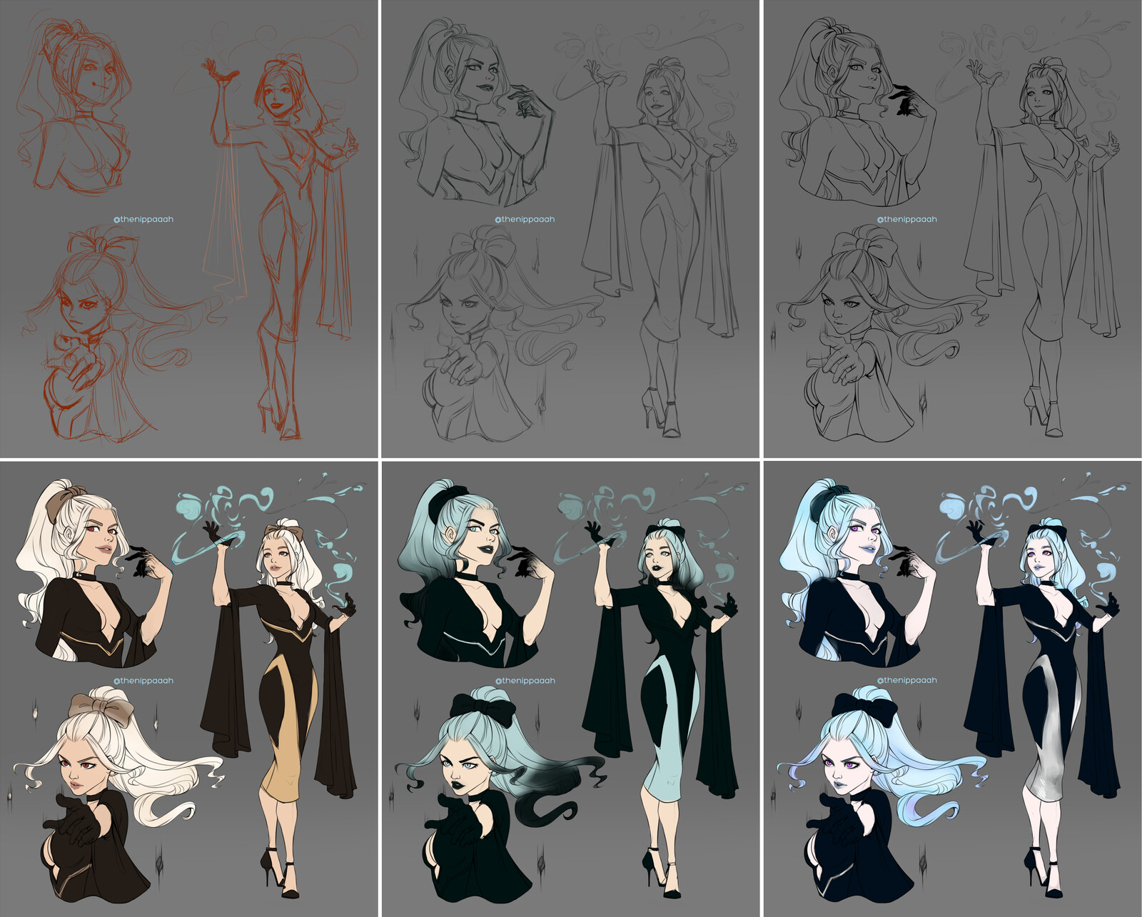 From sketch to lineart progress & color variations