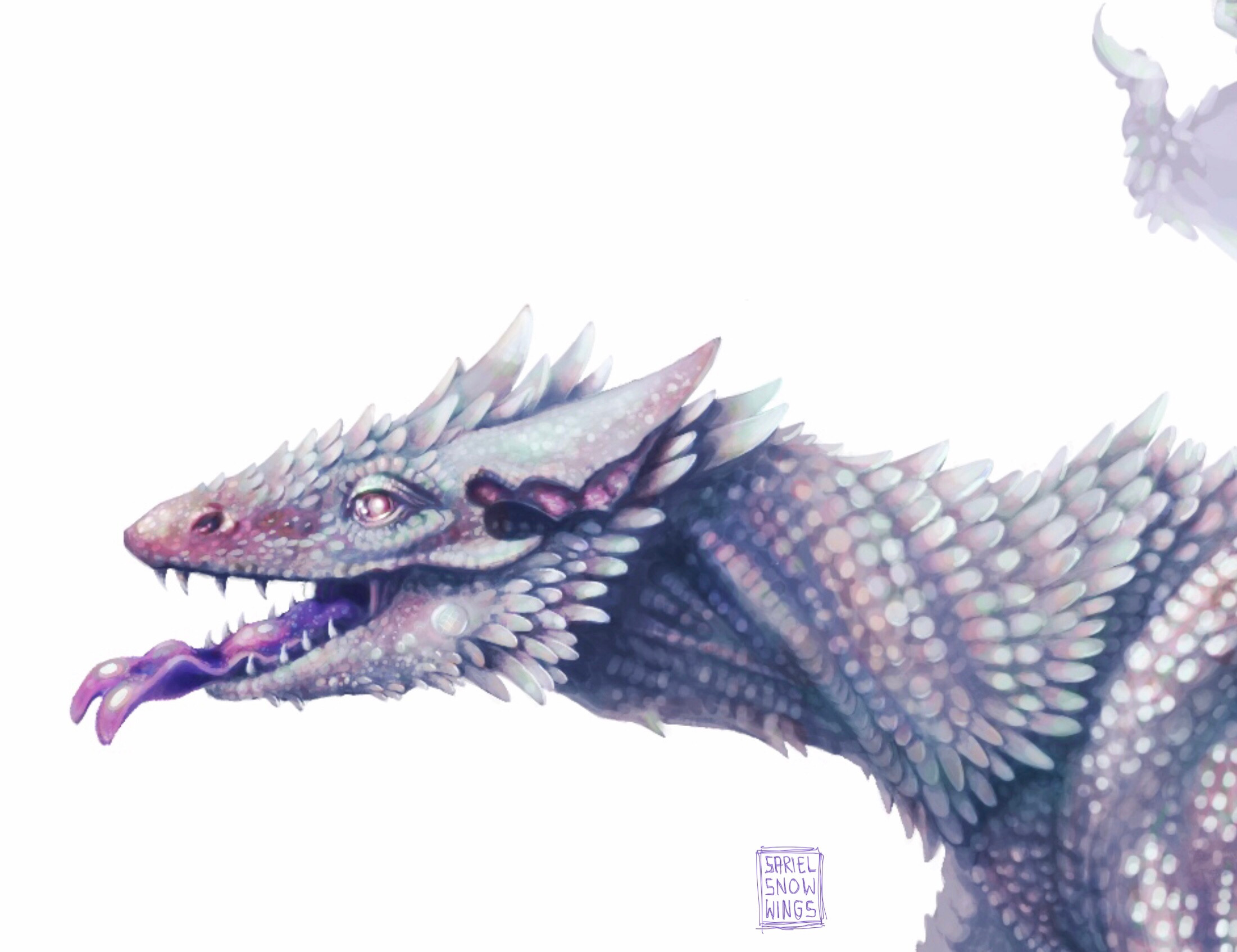 Detail shot of the head. I was inspired by monitor lizards skulls and the tongue of a blue tong skink. I wanted him to look intelligent and playful (he is my childhood imaginary dragon friend after all) yet dangerous if needed.