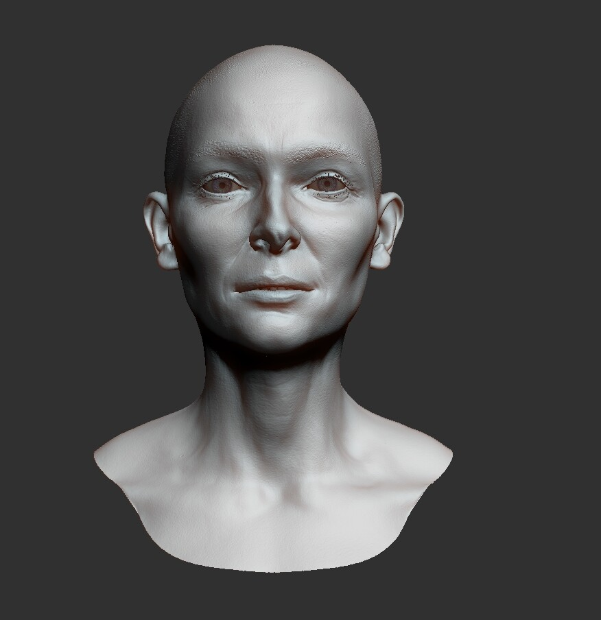 ZBrush sculpt of Tilda Swinton. (Or Ancient One)