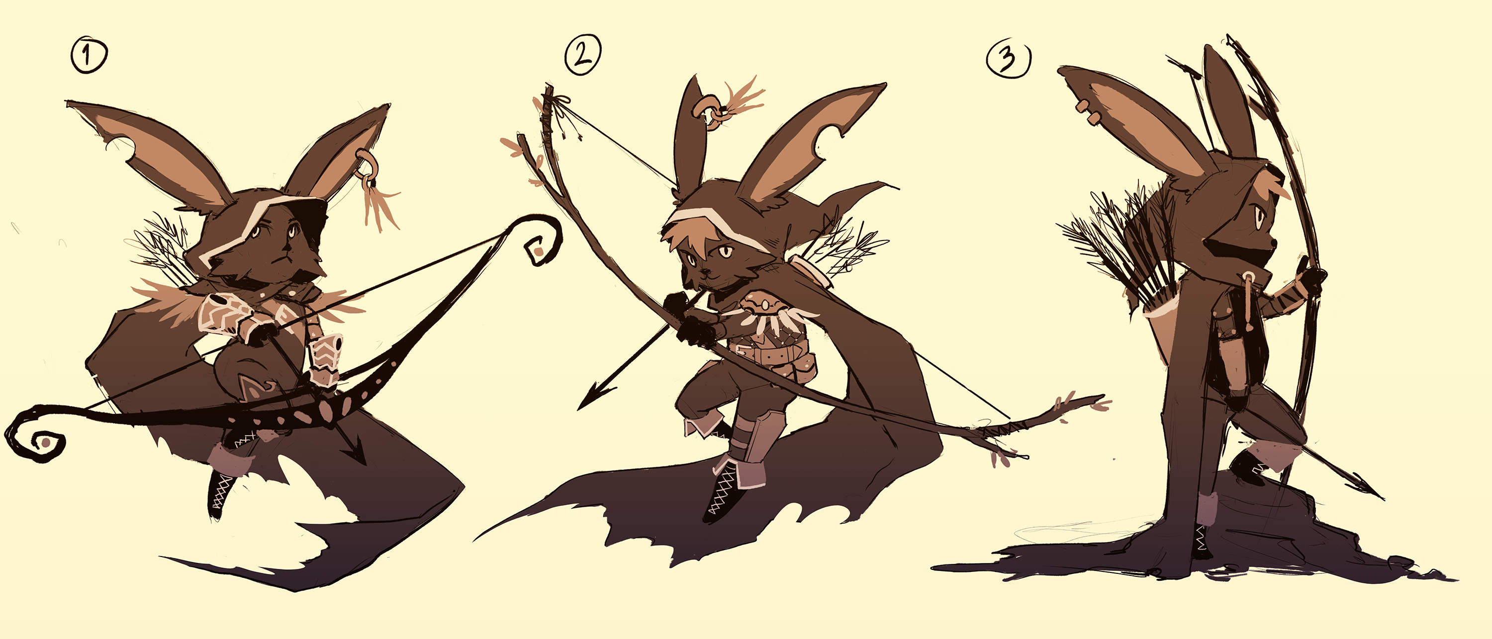 The first thumbnails I did to explore silhouettes, poses and detials. I decided to take number 2 further since I felt it had the strongest overall silhouette and room for more detail exploration.